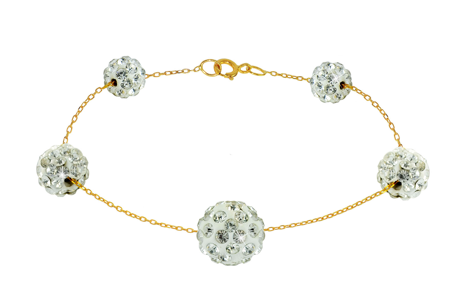 Vera Perla 18k Solid Gold Gradual Built-in Crystal Ball Bracelet