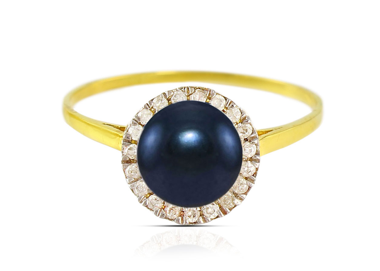Vera Perla 18K Solid Yellow Gold 0.10cts. Genuine Diamonds and 6mm Genuine Black Pearl Ring - 6 US