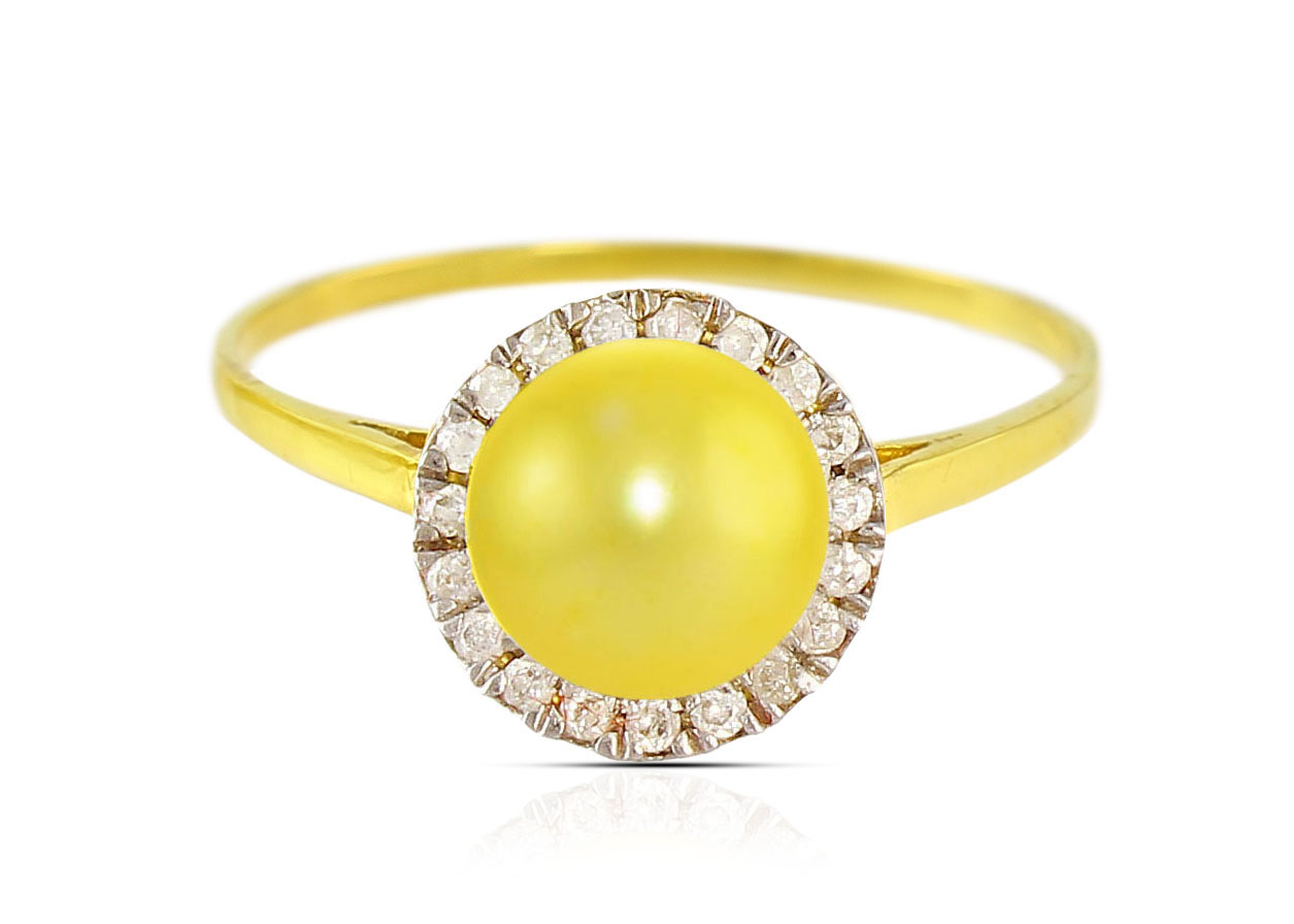 Vera Perla 18K Solid Yellow Gold 0.10cts. Genuine Diamonds and 6mm Genuine Golden Pearl Ring - 6 US