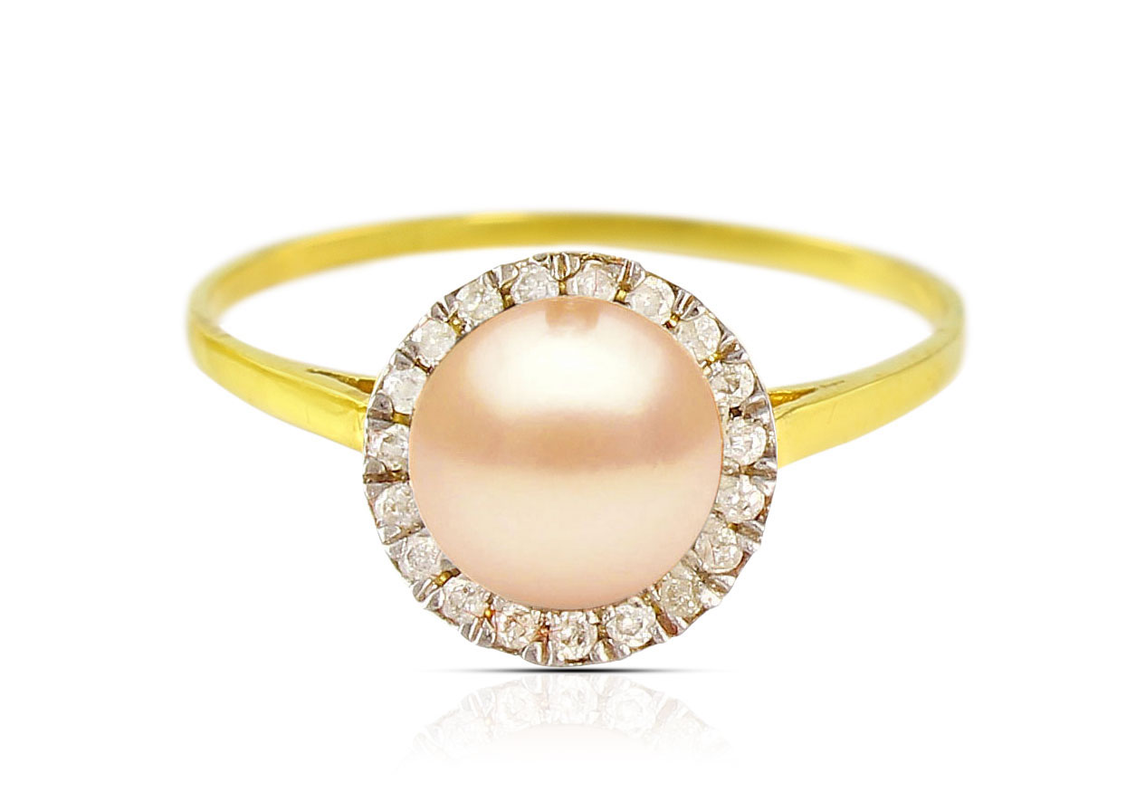 Vera Perla 18K Solid Yellow Gold 0.10cts. Genuine Diamonds and 6mm Genuine Pink Pearl Ring - 6 US
