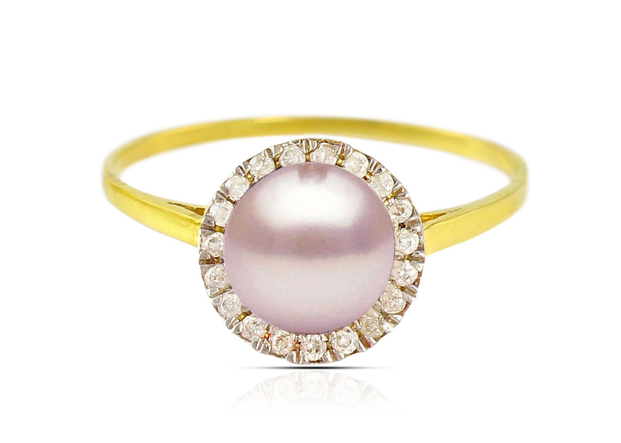 Vera Perla 18K Solid Yellow Gold 0.10cts. Genuine Diamonds and 6mm Genuine Purple Pearl Ring - 6 US