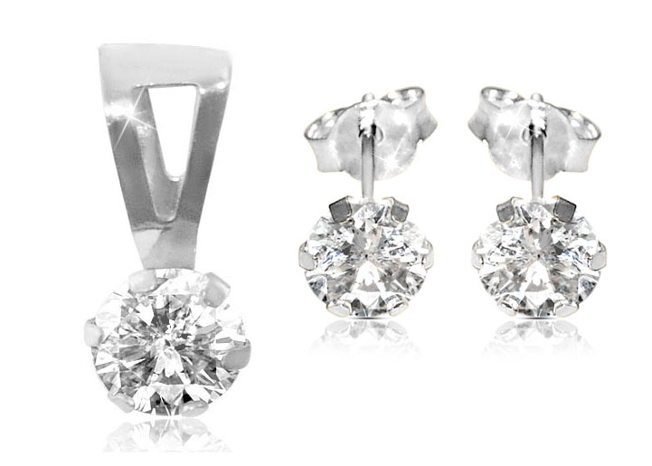 Vera Perla 18K White Gold and Cubic Zircon Solitaire Pendant and Earrings