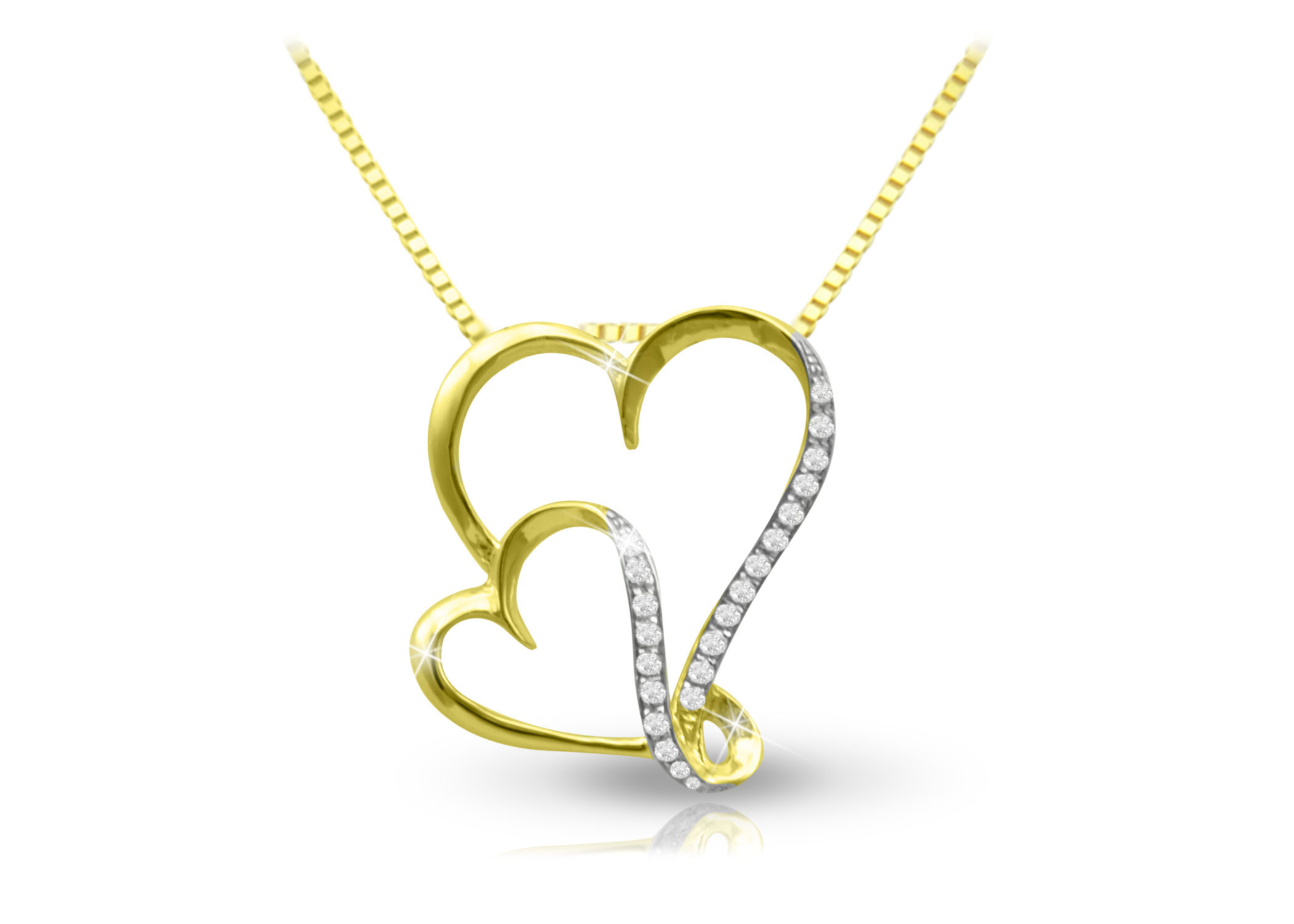 Vera Perla 18K Yellow Gold Big and Small Hearts Necklace