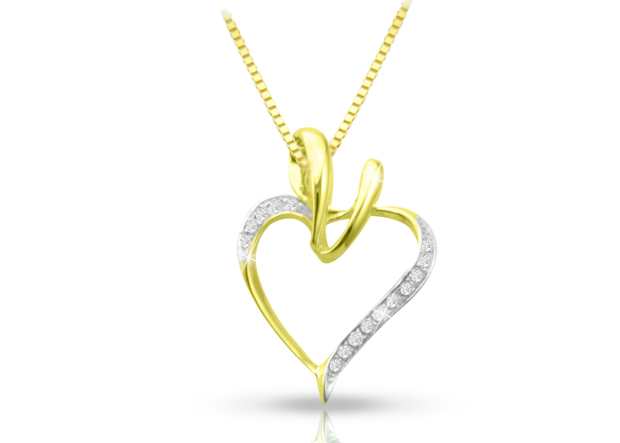 Vera Perla 18K Yellow Gold Curvy Heart Diamonds Necklace