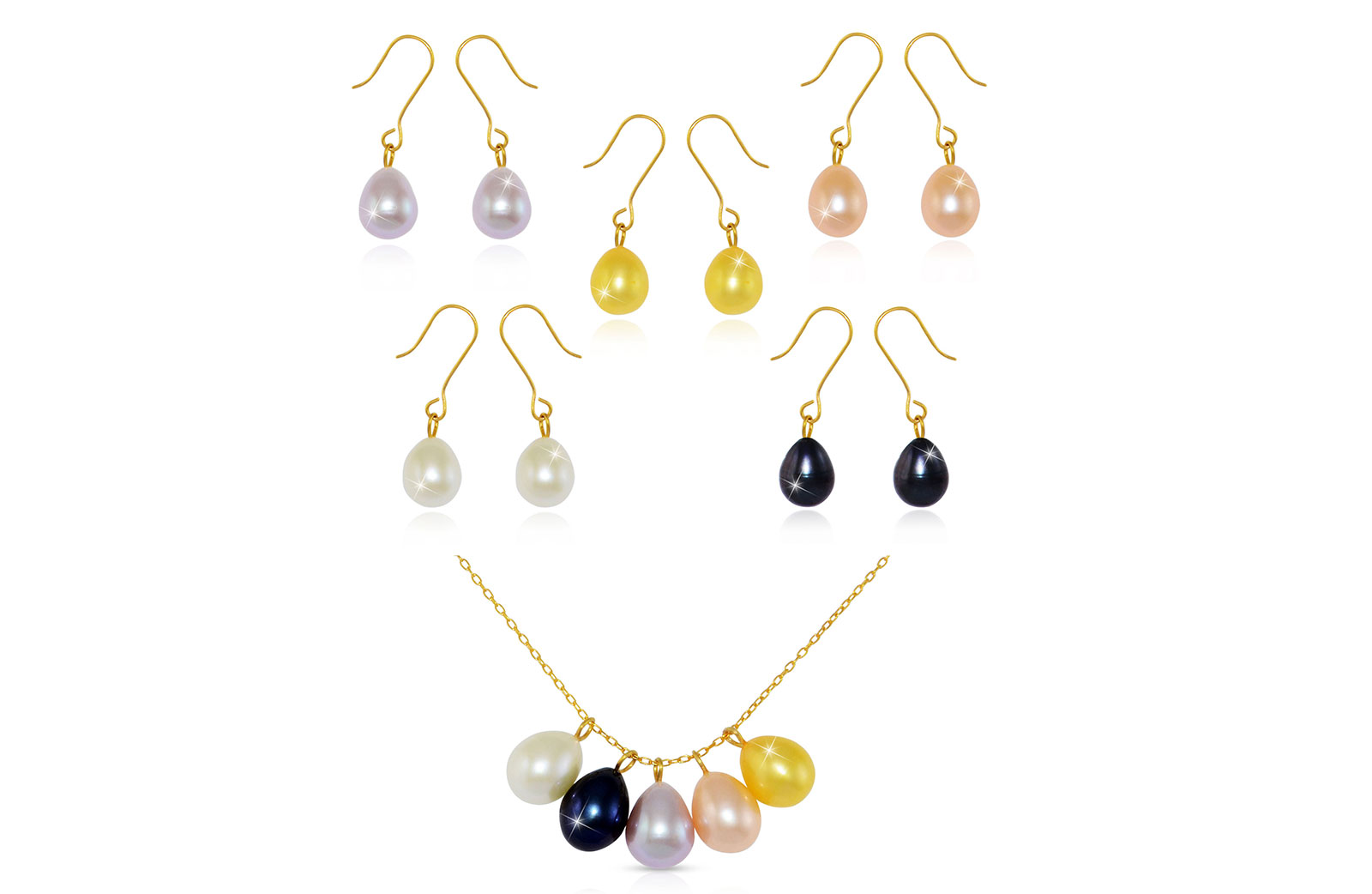 Vera Perla 5 in 1 18K Gold Genuine Pearls 5 Pendants and Earrings and 1 Chain