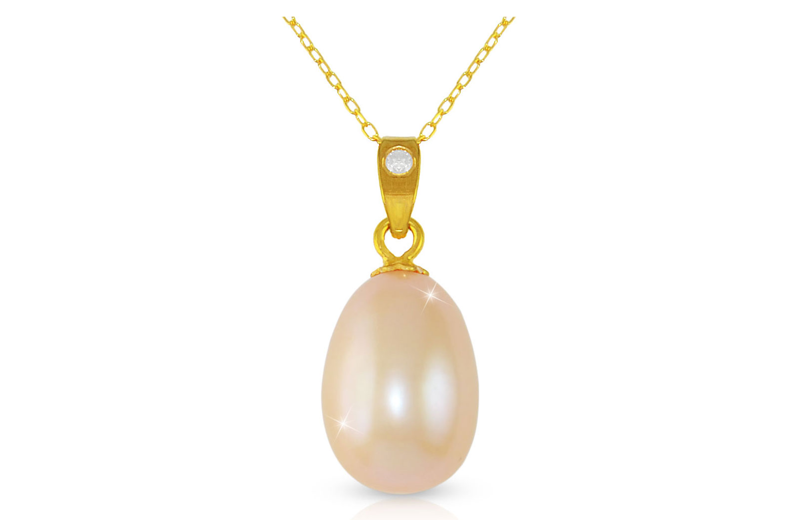 Vera Perla Pink Baroque Pearl 18K Gold Pendant with 10K Gold Chain