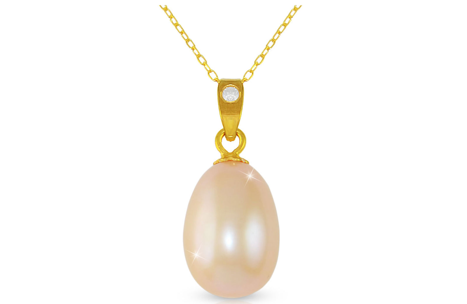 Vera Perla Pink Baroque Pearl 18K Gold Pendant with 18K Gold Chain