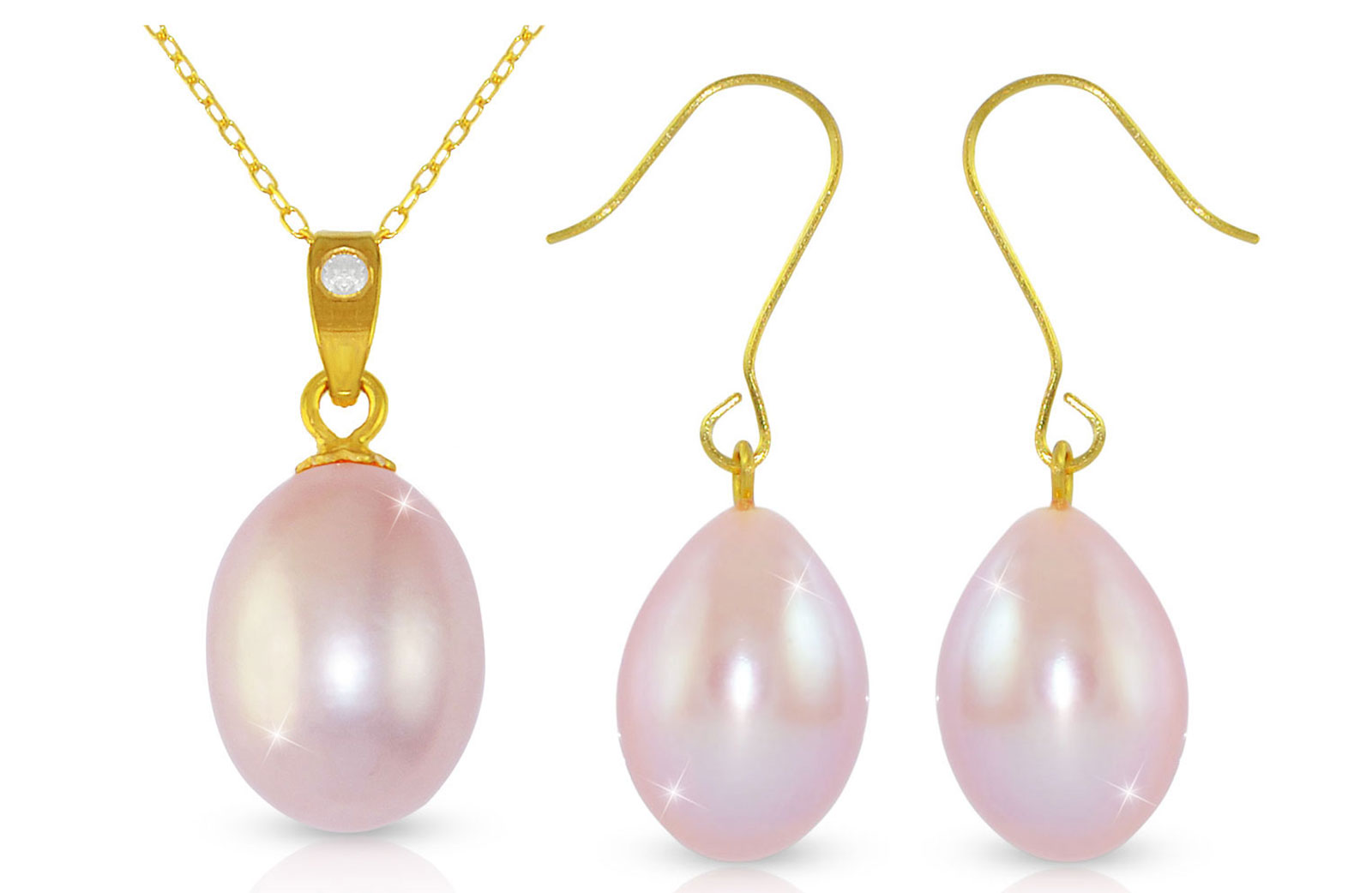 Vera Perla Pur. Pearl 18K Gold Diamond Pendant with 18K Gold Chain/Earring