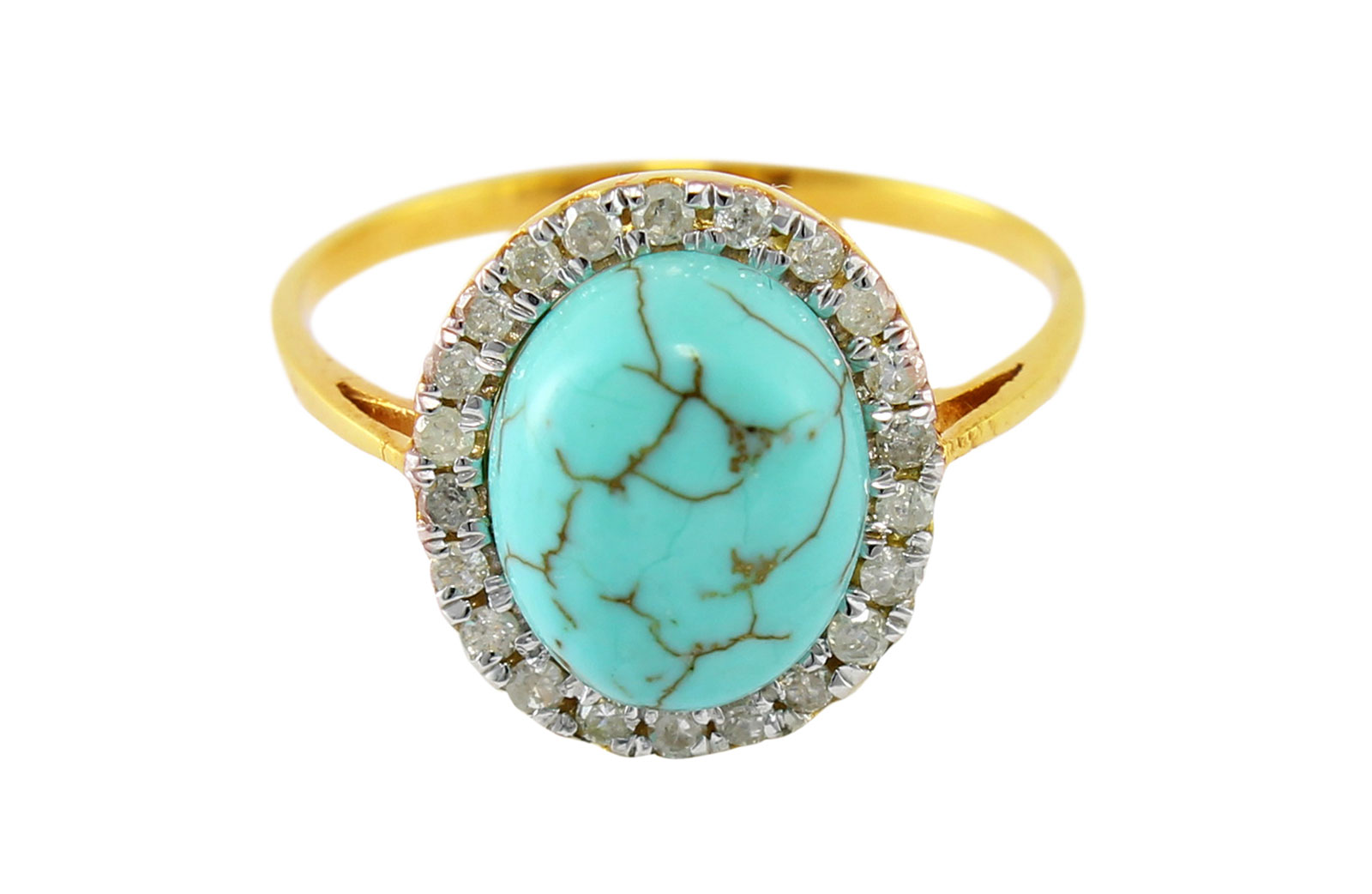 Vp Jewels 10K Solid Gold 0.22ct Genuine Diamond 9mm Turquoise Ring - Size US 6.5