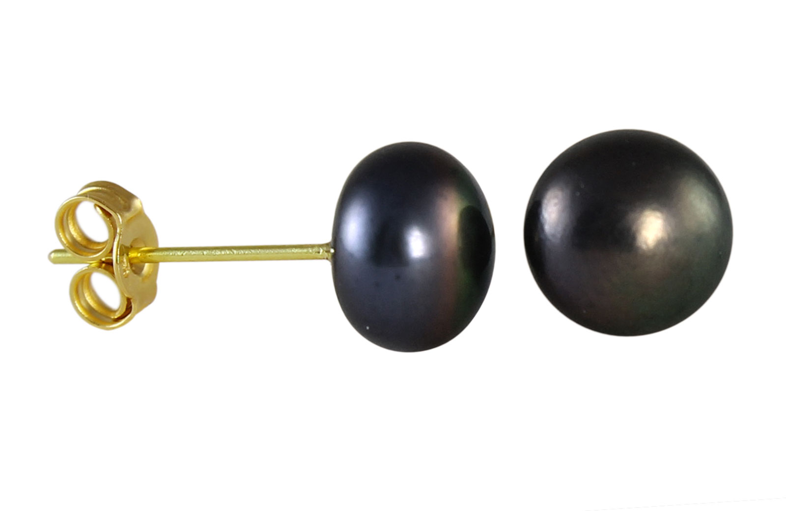 VP Jewels 18K  Yellow Gold 6-7mm Genuine Black Pearls Earrings