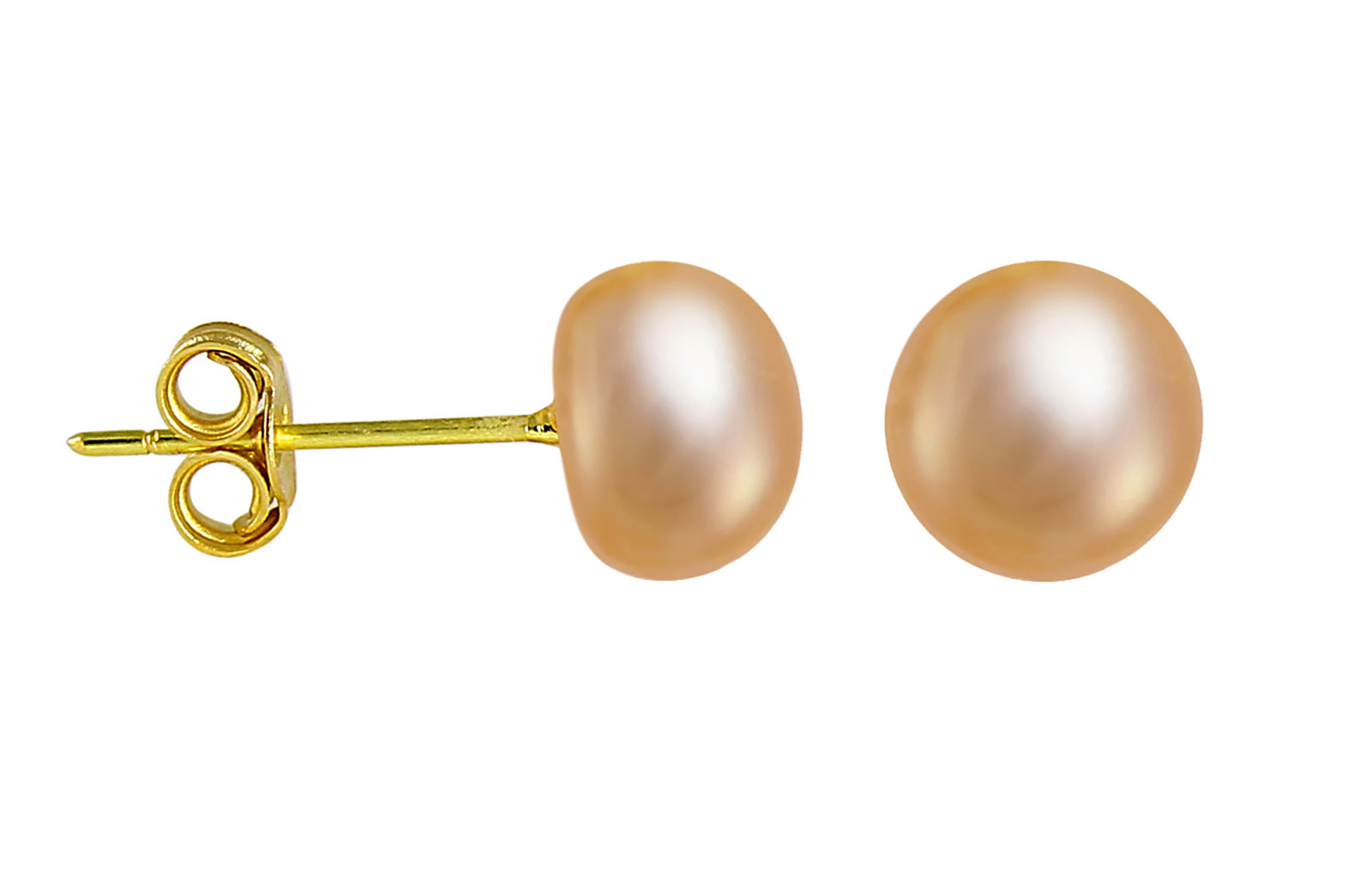 VP Jewels: 18K  Yellow Gold 6-7mm Genuine Pink/Peach Pearls Earrings