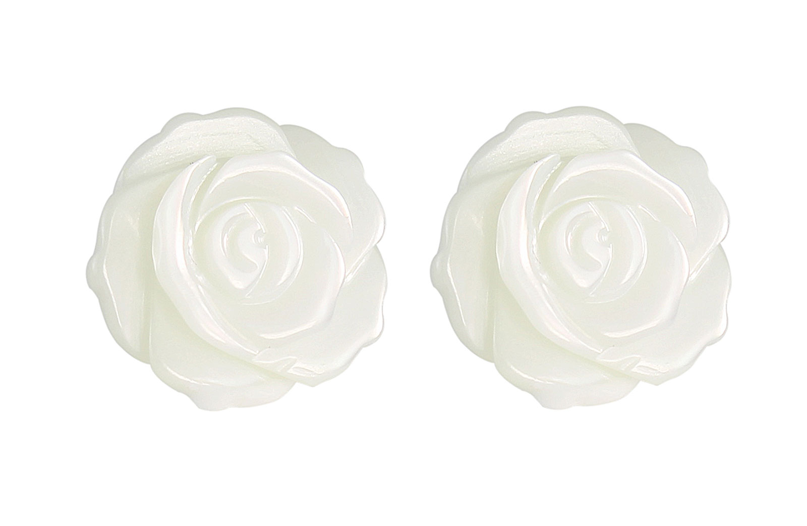VP Jewels 18K  Yellow Gold, Genuine 12mm Mother of Pearl Rose Carved Earrings
