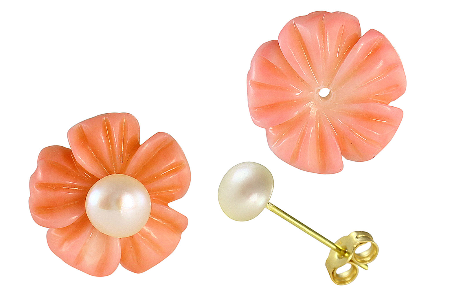 VP Jewels 18K  Yellow Gold,Pink Coral Flower  and 4-5MM Genuine White Pearls Earrings