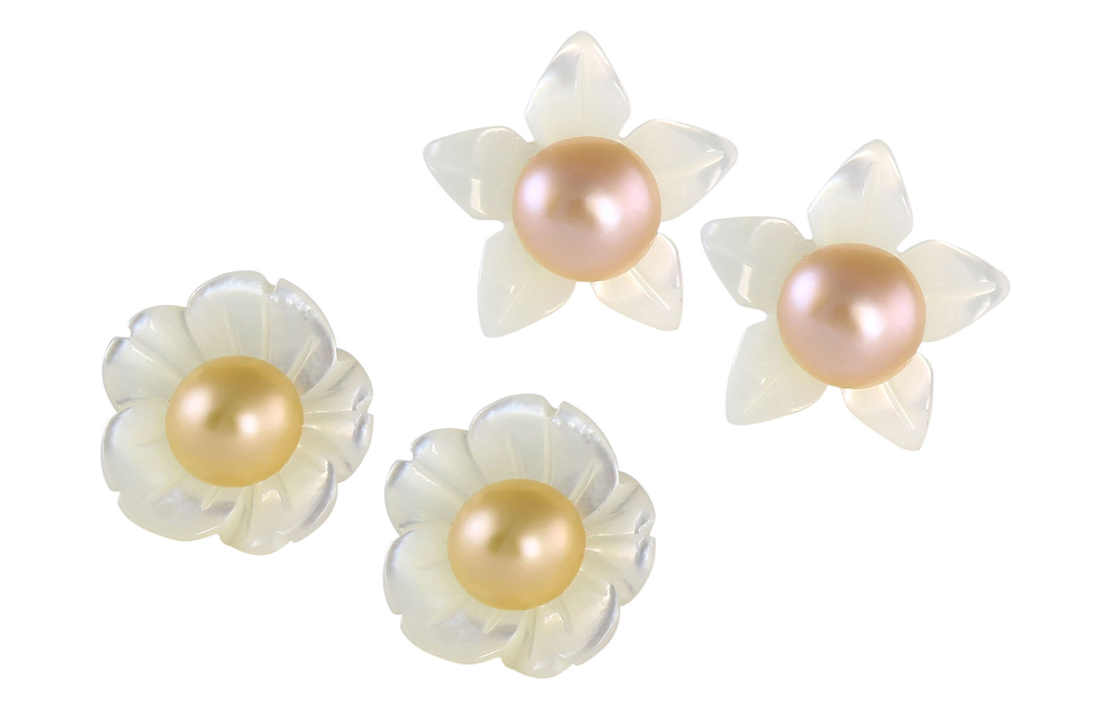 VP Jewels 18K  Yellow Gold,White Shell Flower  and 4-5MM Genuine Pink/Peach + Purple/Lavender Pearls Earrings
