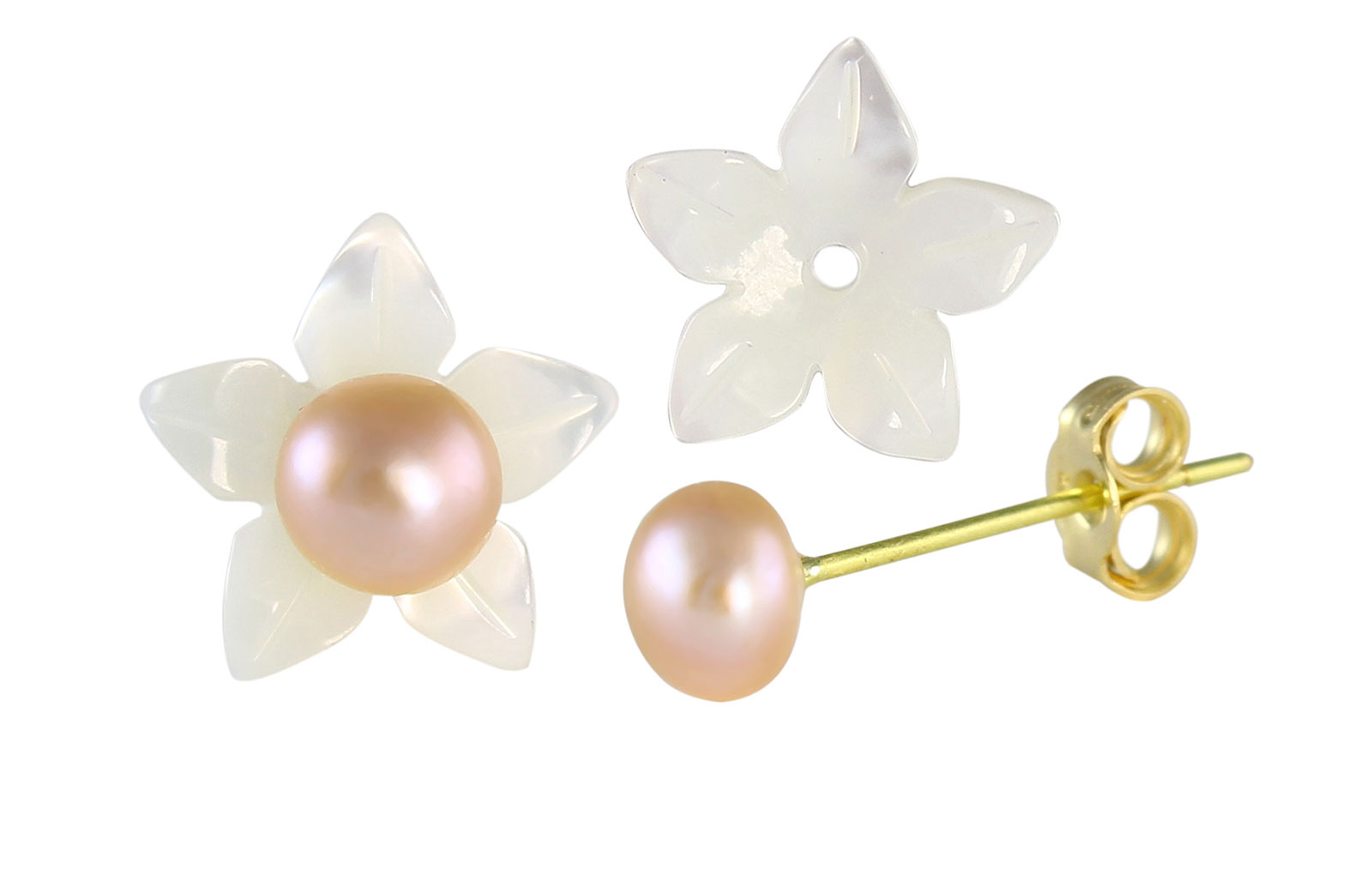 VP Jewels 18K  Yellow Gold,White Shell Flower  and 4-5MM Genuine Purple/Lavender  Pearls Earrings