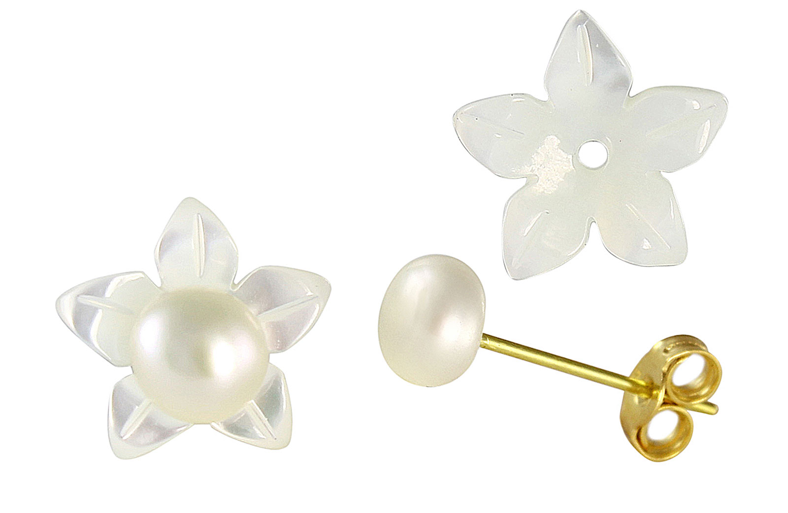 VP Jewels 18K  Yellow Gold,White Shell Flower  and 4-5MM Genuine White Pearls Earrings