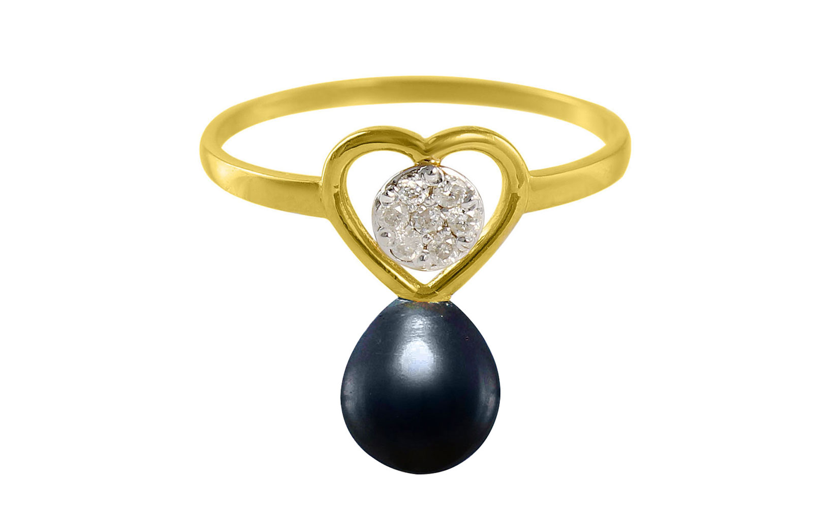 VP Jewels 18K Solid Gold 0.07ct Genuine Diamond and 7mm Black Pearl Heart Ring - Size US 7