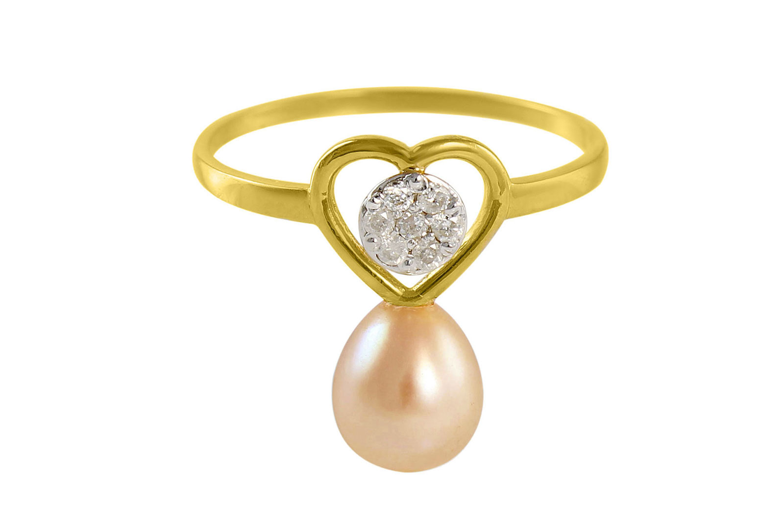 VP Jewels 18K Solid Gold 0.07ct Genuine Diamond and 7mm Pink Pearl Heart Ring - Size US 7