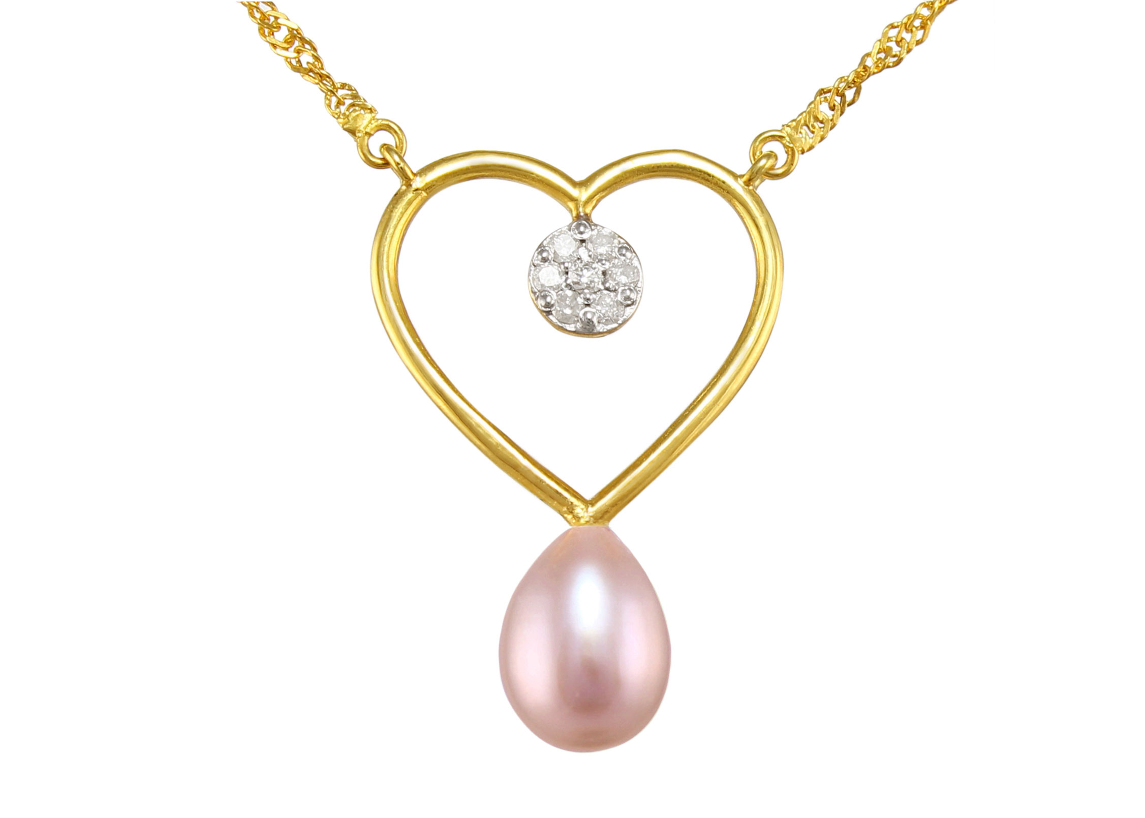 VP Jewels 18K Solid Gold 0.07ct Genuine Diamond and 7mm Purple Pearl Heart Pendant Necklace