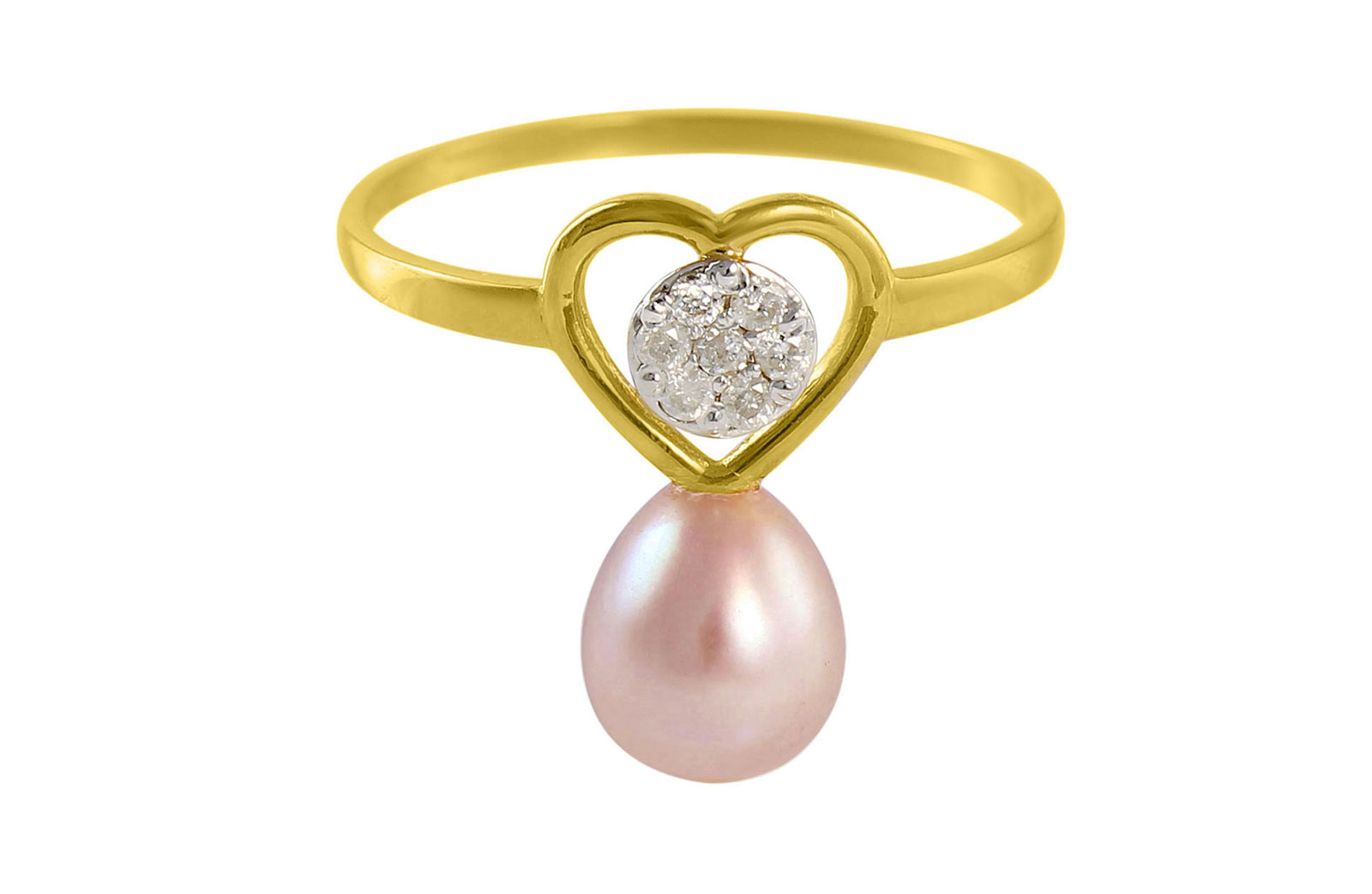 VP Jewels 18K Solid Gold 0.07ct Genuine Diamond and 7mm Purple Pearl Heart Ring - Size US 7