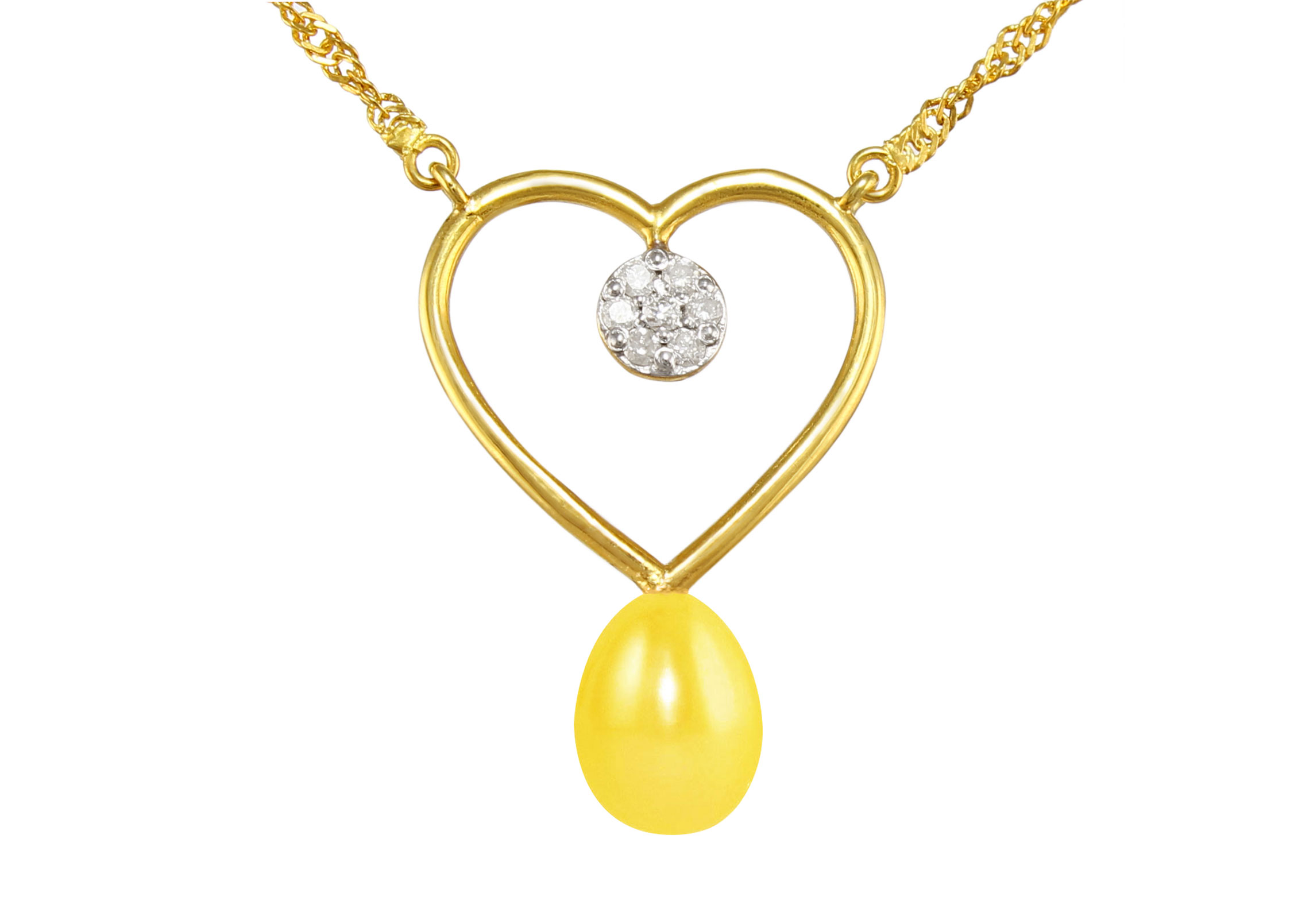 VP Jewels 18K Solid Gold 0.07ct Genuine Diamond and 7mm Yellow Pearl Heart Pendant Necklace