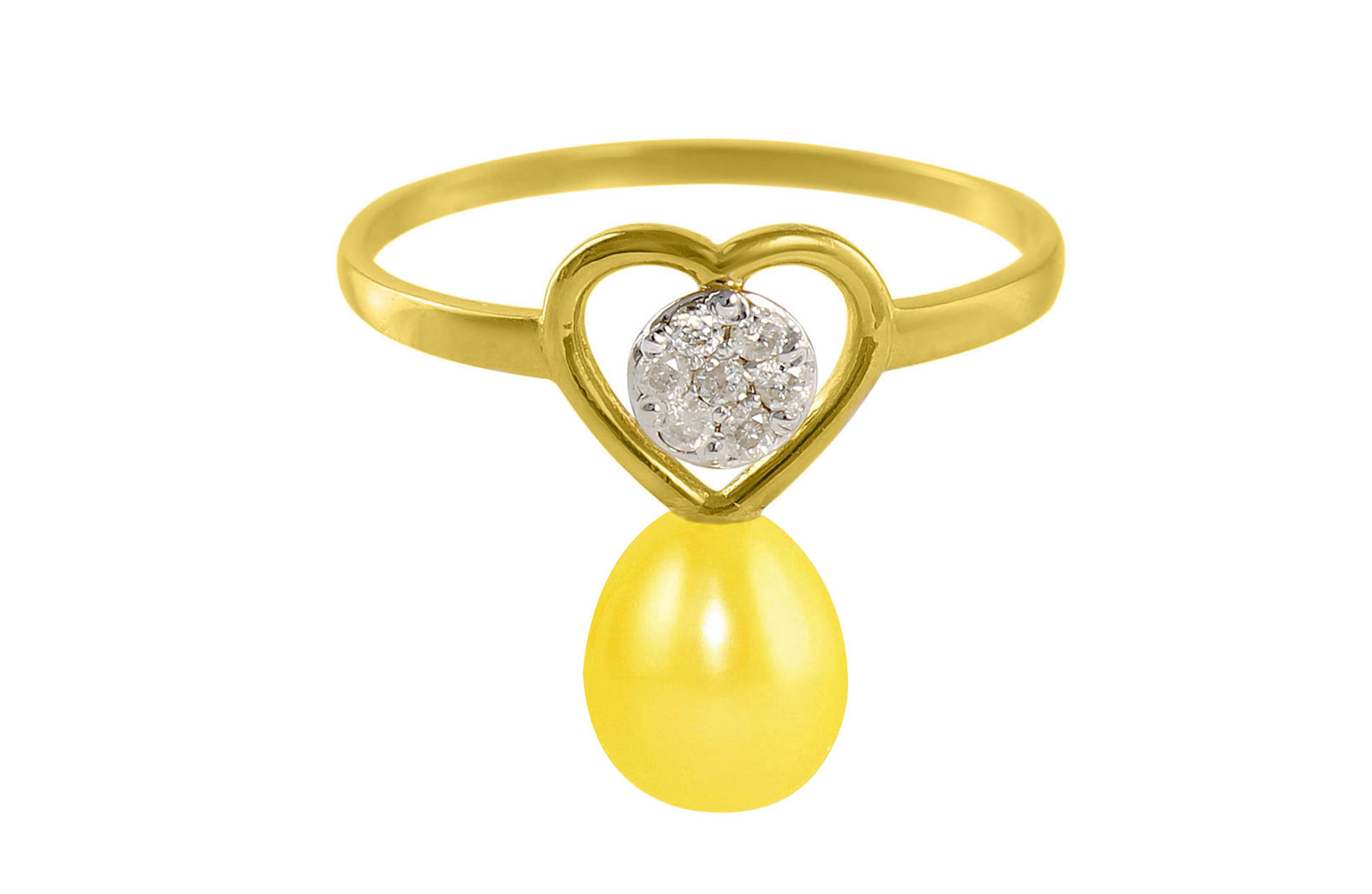 VP Jewels 18K Solid Gold 0.07ct Genuine Diamond and 7mm Yellow Pearl Heart Ring - Size US 7