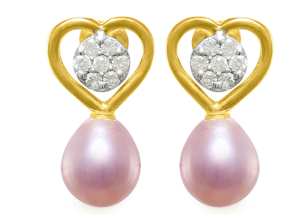 VP Jewels 18K Solid Gold 0.14ct Genuine Diamond and 7mm Purple Pearl Solitaire Heart Earrings