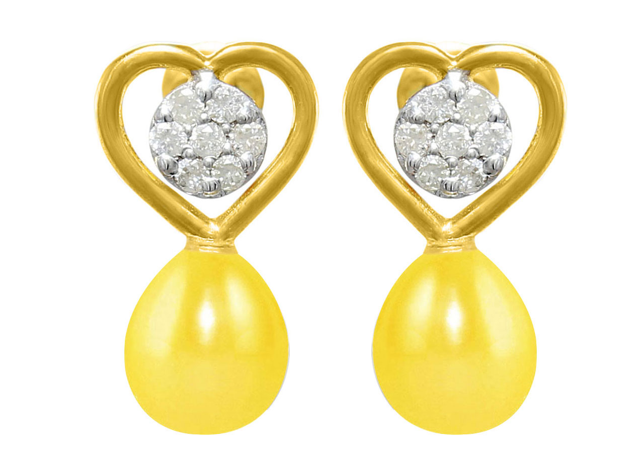 VP Jewels 18K Solid Gold 0.14ct Genuine Diamond and 7mm Yellow Pearl Solitaire Heart Earrings
