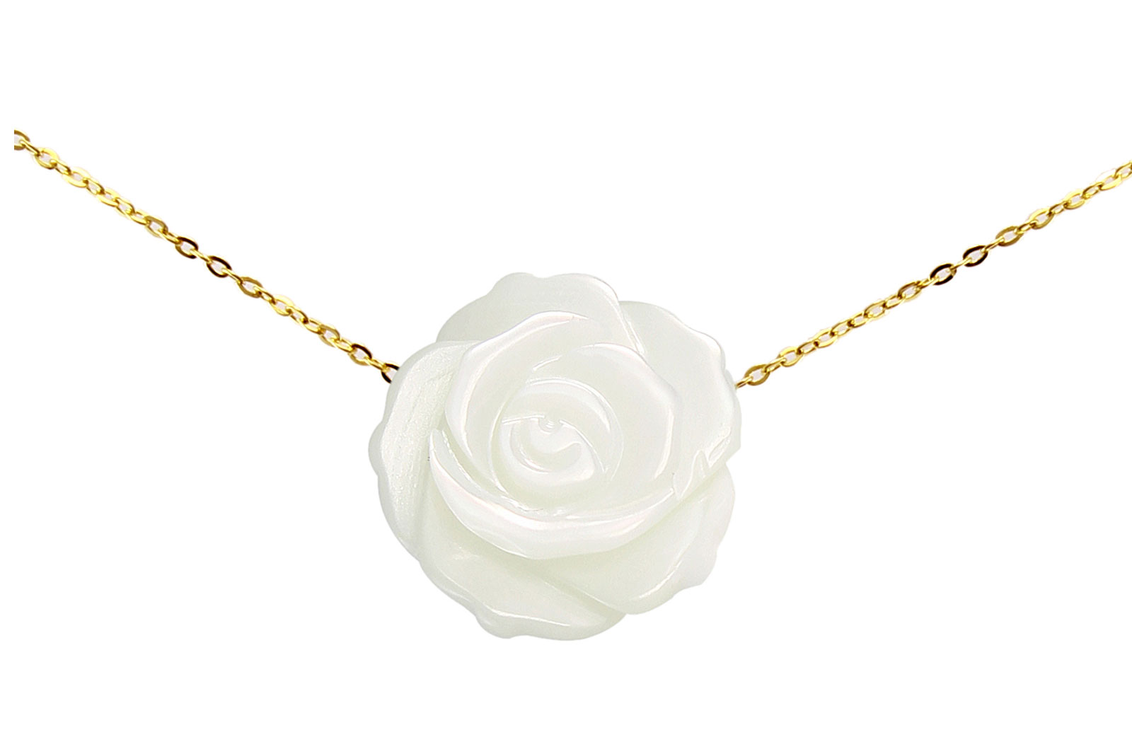 VP Jewels 18K Solid Gold 12mm Rose Carved Mother of Pearl Pendant Necklace