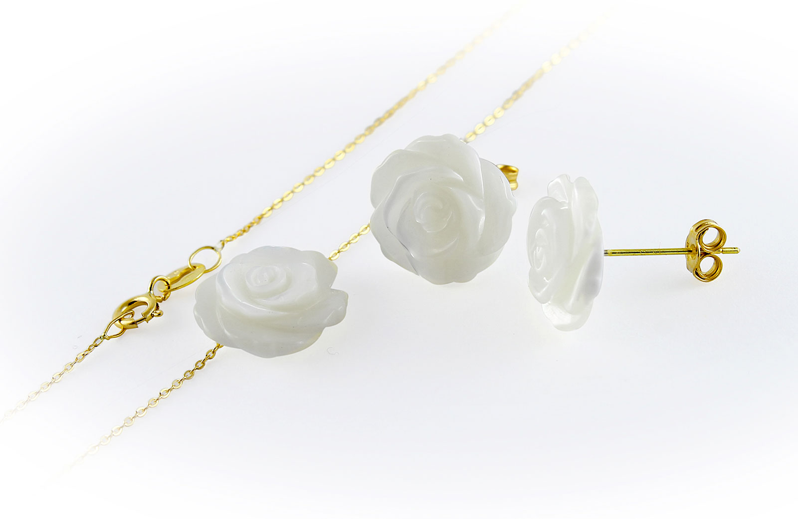 VP Jewels 18K Solid Gold 12mm Rose Carved Mother of Pearl Pendant Necklace and Earring Set