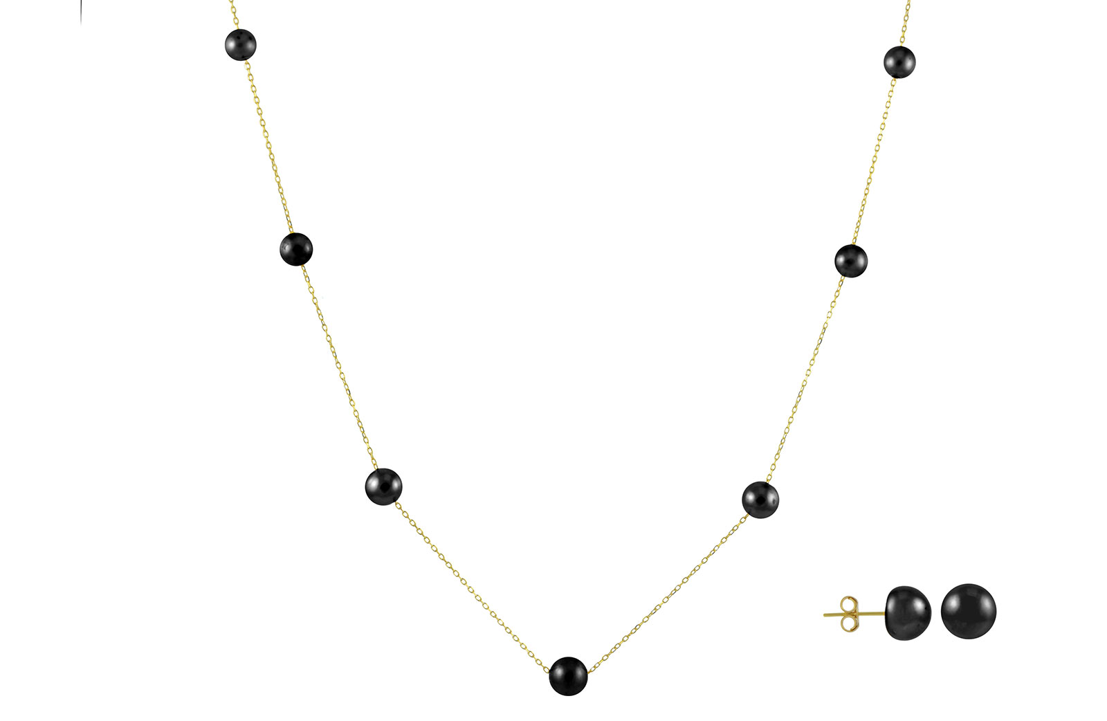 VP Jewels 18K Solid Gold 5-7MM Gradual  Built-in Black Pearl Necklace + 18K Gold 7MM Pearl Earrings