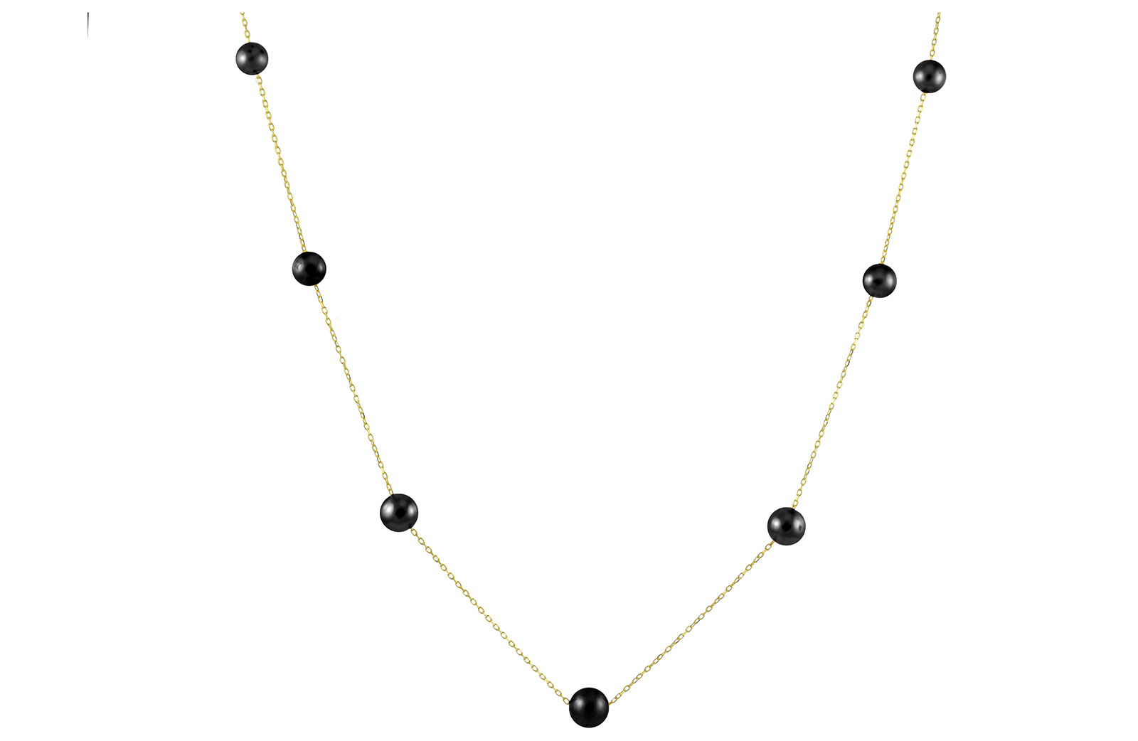 VP Jewels 18K Solid Gold 5-7MM Gradual  Built-in Black Pearl Necklace