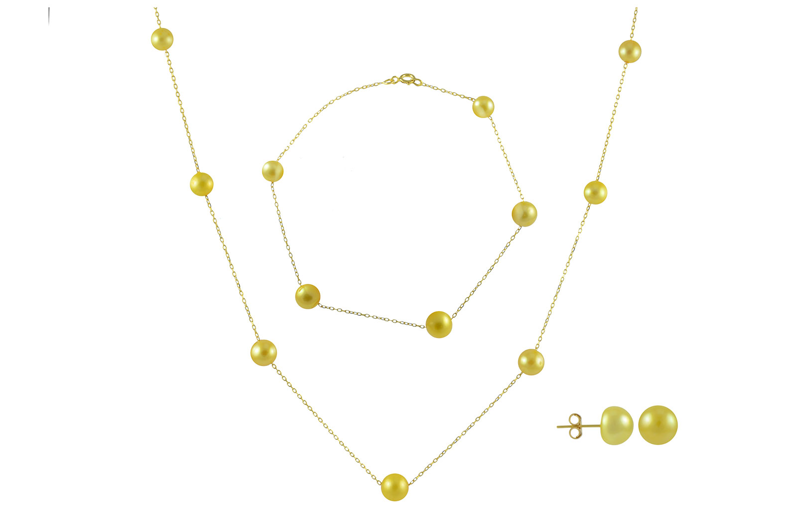 VP Jewels 18K Solid Gold 5-7MM Gradual  Built-in Gold- Yellow Pearl Necklace + 18K Gold 7MM Pearl Earrings + Bracelet