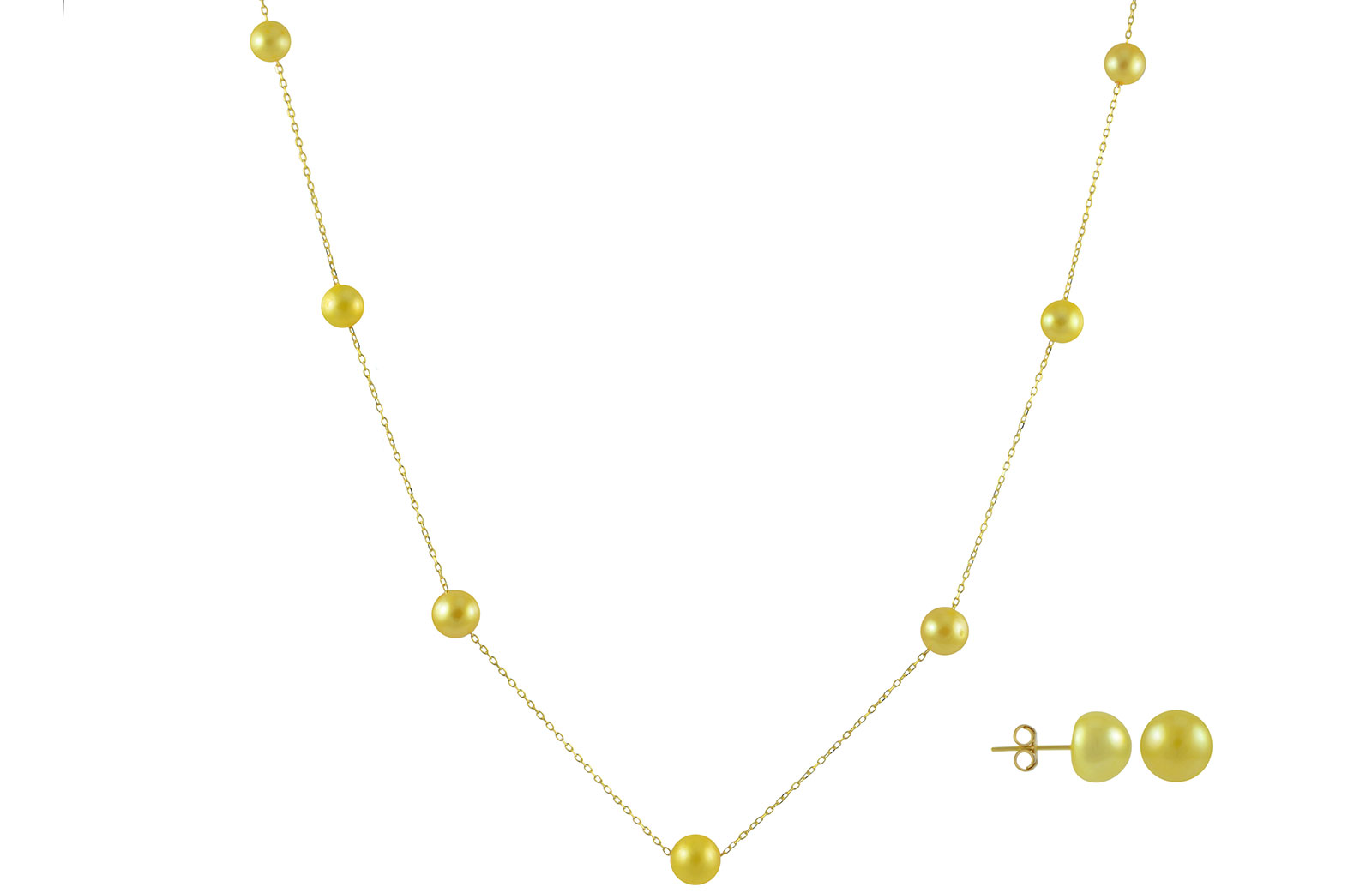 VP Jewels 18K Solid Gold 5-7MM Gradual  Built-in Gold- Yellow Pearl Necklace + 18K Gold 7MM Pearl Earrings