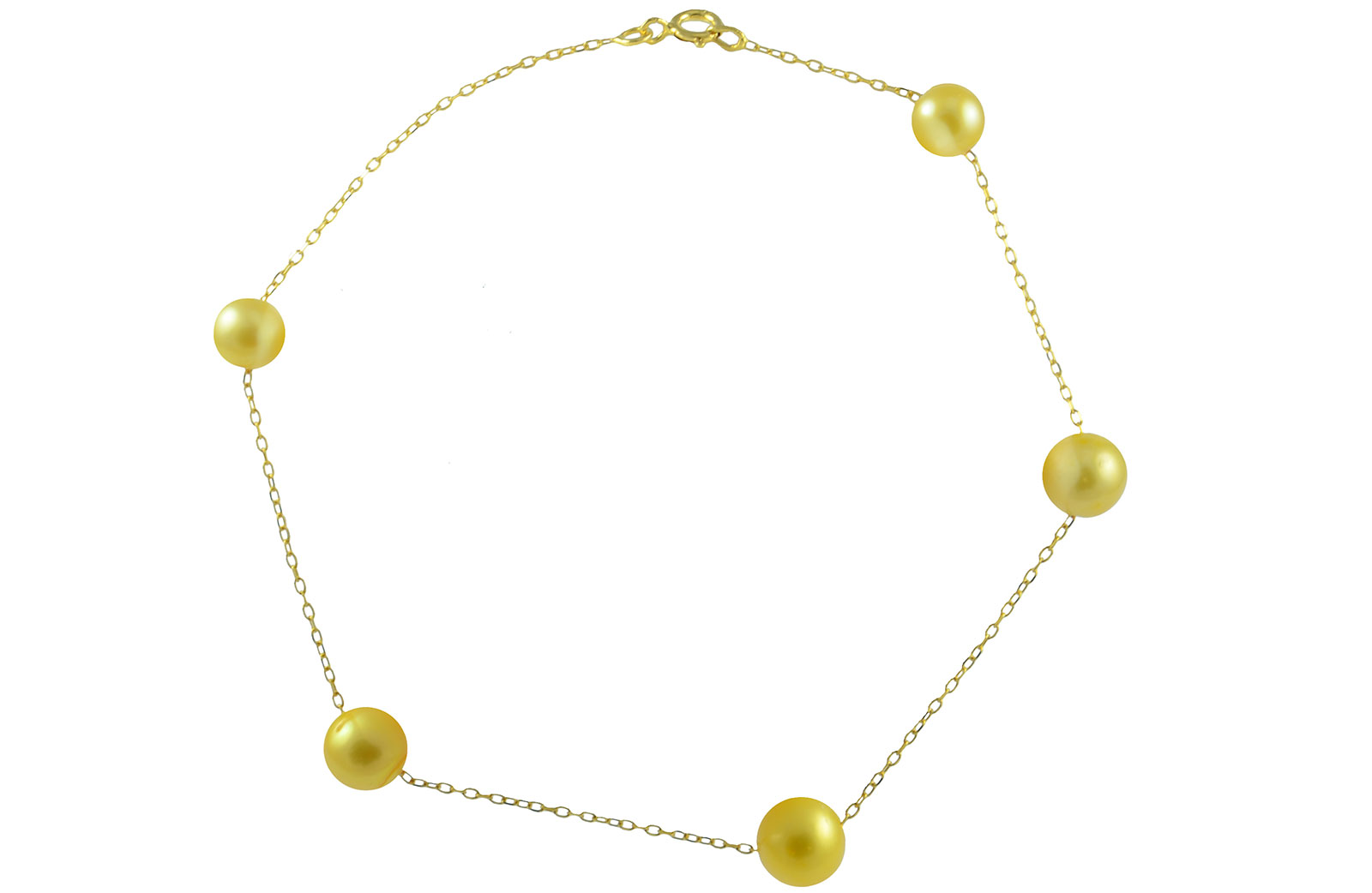 Vp Jewels 18K Solid Gold 5-7MM Gradual  Built-in Golden-Yellow Pearl Bracelet