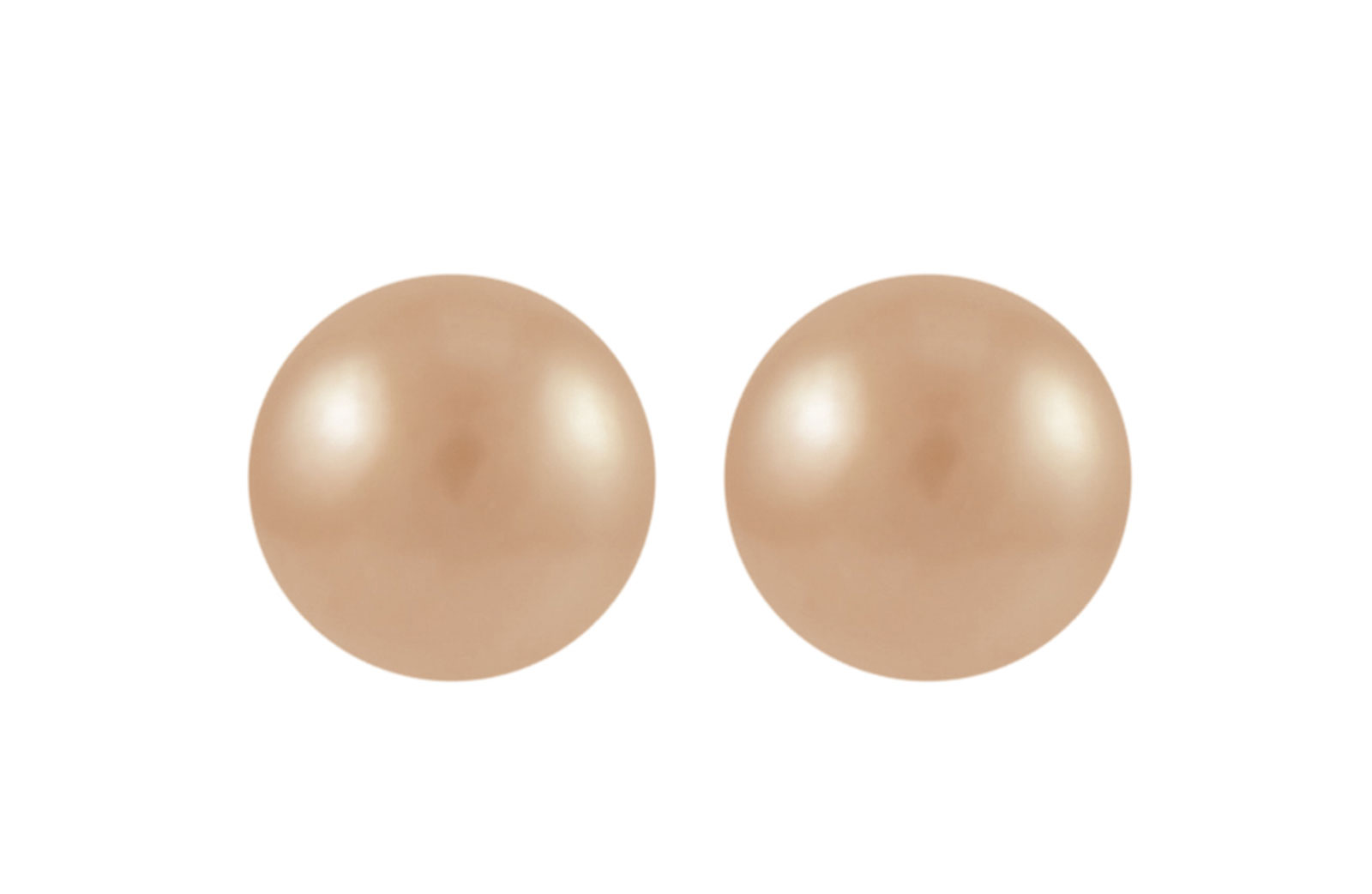 VP Jewels 18K Solid Gold 5-7MM Gradual  Built-in Pink Pearl Necklace + 18K Gold 7MM Pearl Earrings