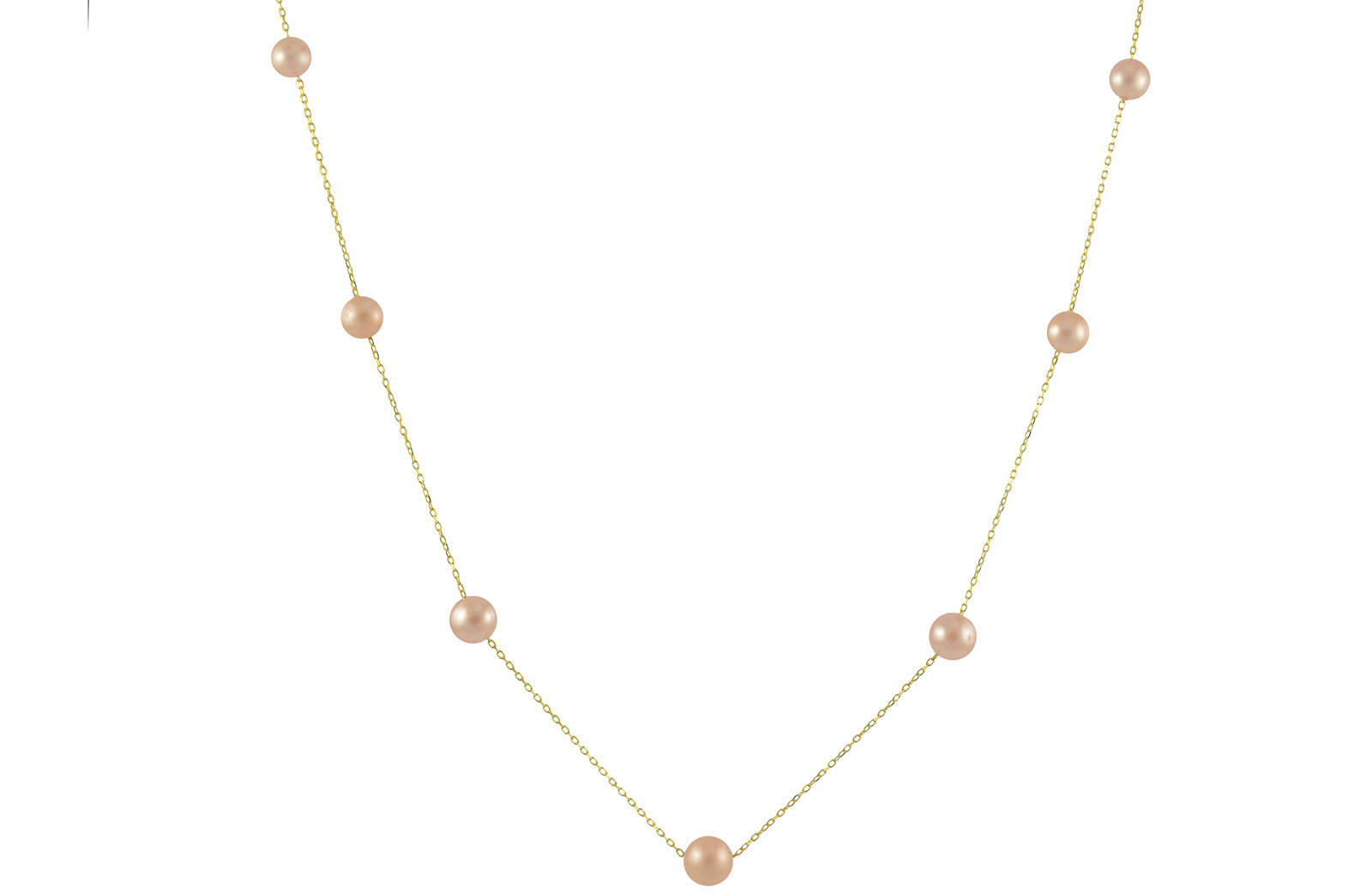 VP Jewels 18K Solid Gold 5-7MM Gradual  Built-in Pink Pearl Necklace