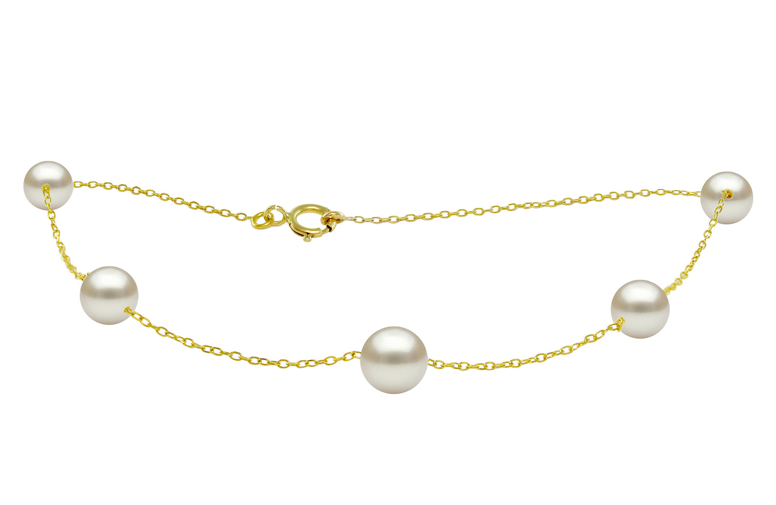 VP Jewels 18K Solid Gold 5.5-7MM Gradual  Built-in White Pearl Bracelet