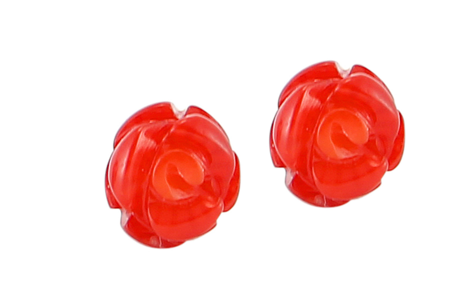 Vp Jewels 18K Solid Gold 8-9mm Genuine Red Coral Rose Earrings