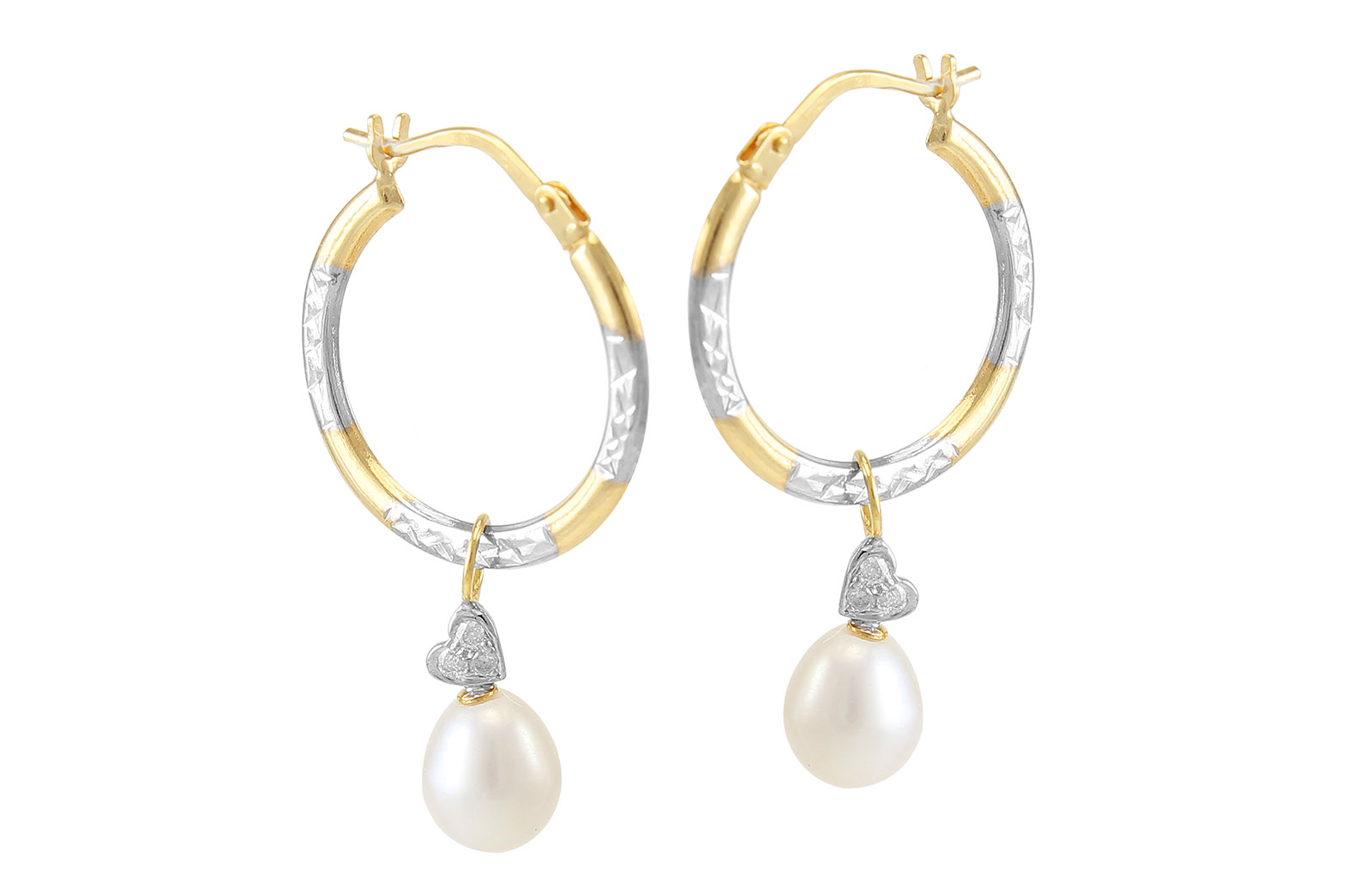 VP Jewels: 18K Solid Gold and 0.06cts  and 7mm White Pearls Diamonds Medium Hoops With Hearts Earrings