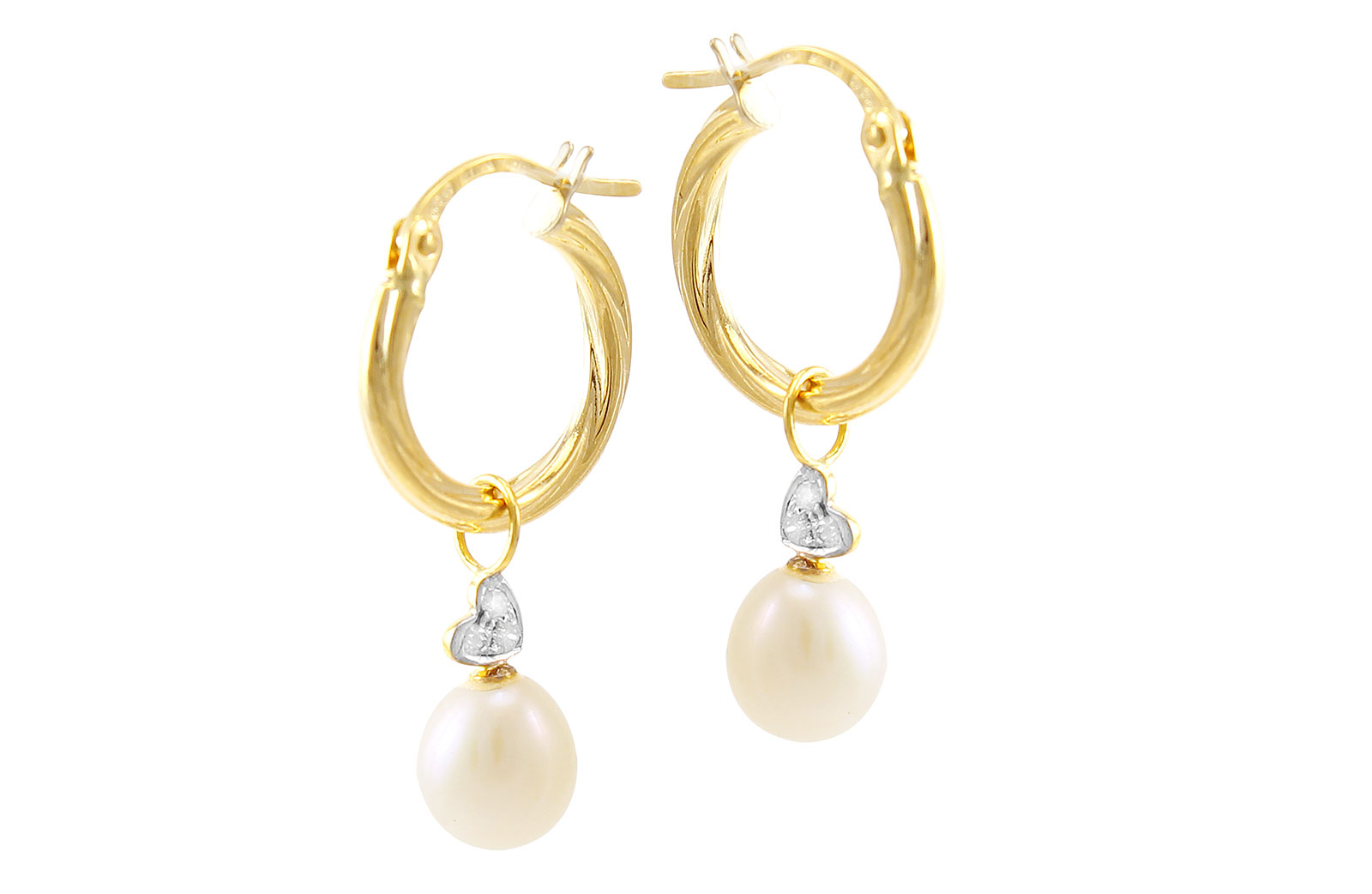 VP Jewels: 18K Solid Gold and 0.06cts  Diamonds and 7mm White Pearls Small Hoops With Hearts Earrings