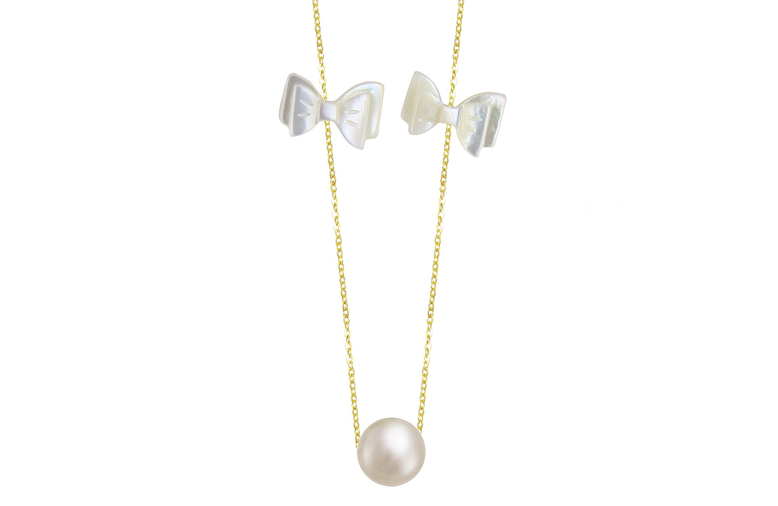 VP Jewels 18K Solid Gold Simple 7mm White Pearl with 2 Mother of Pearl Bow Pendant Necklace