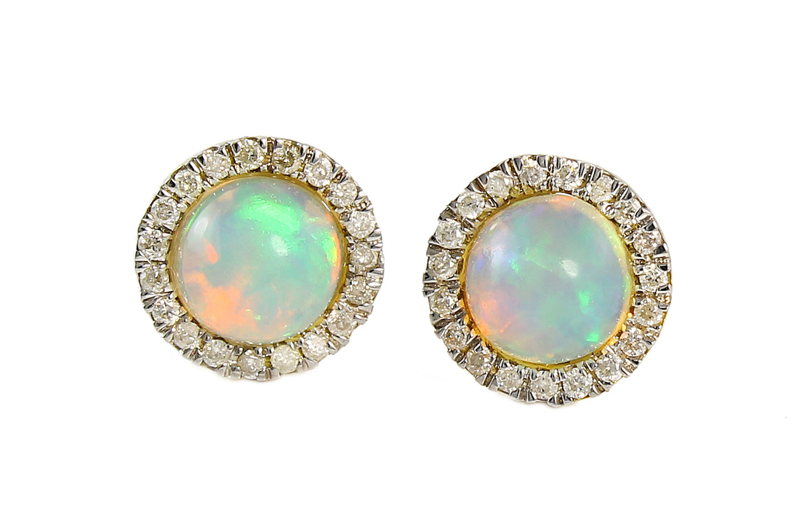 VP Jewels: 18K Solid Yellow Gold  0.20CT Genuine Diamonds  and 6mm Opal  Round Cabochon Cut Earrings