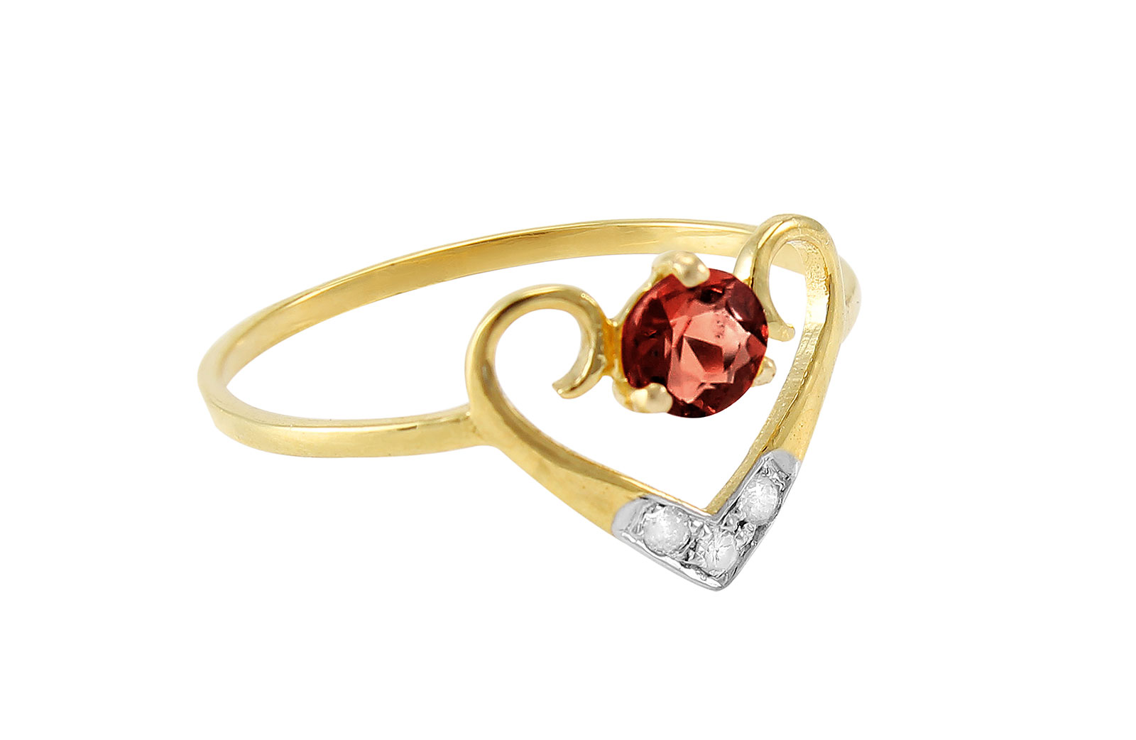 VP Jewels: 18K Solid Yellow Gold 0.03CT Genuine Diamondds  and 4mm Garnet   Heart Ring -SIZE 6 US