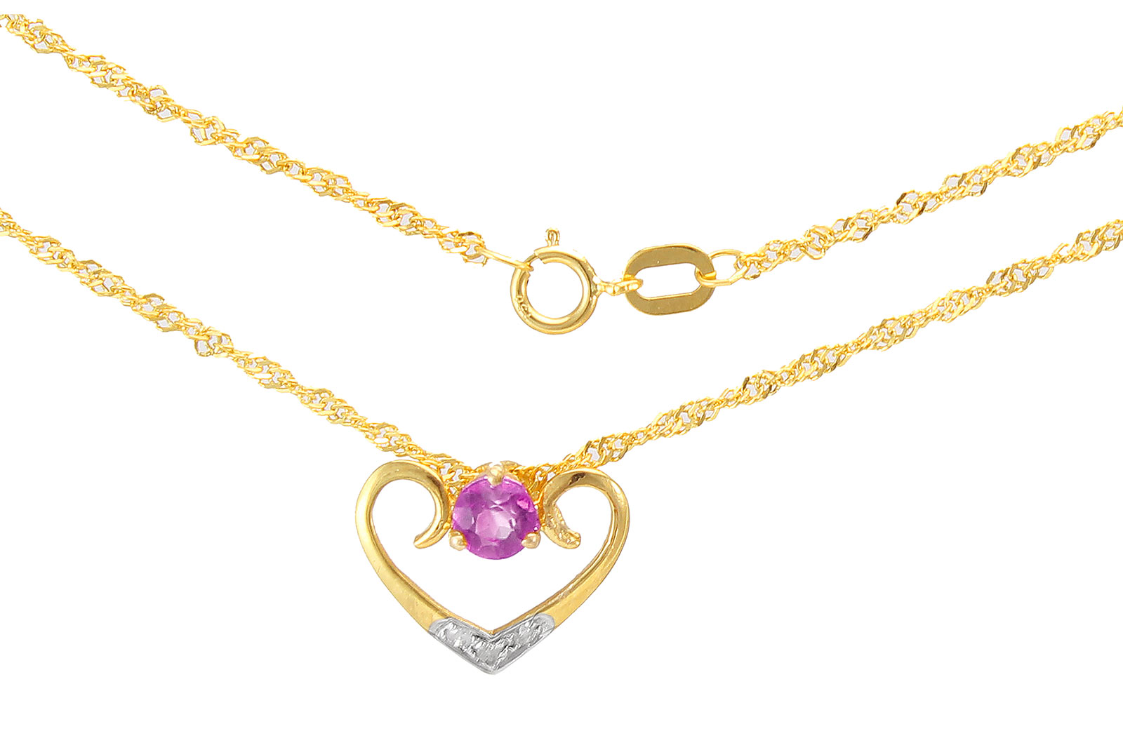 VP Jewels: 18K Solid Yellow Gold 0.03CT Genuine Diamonds  and 4mm Amethyst    Heart Necklace