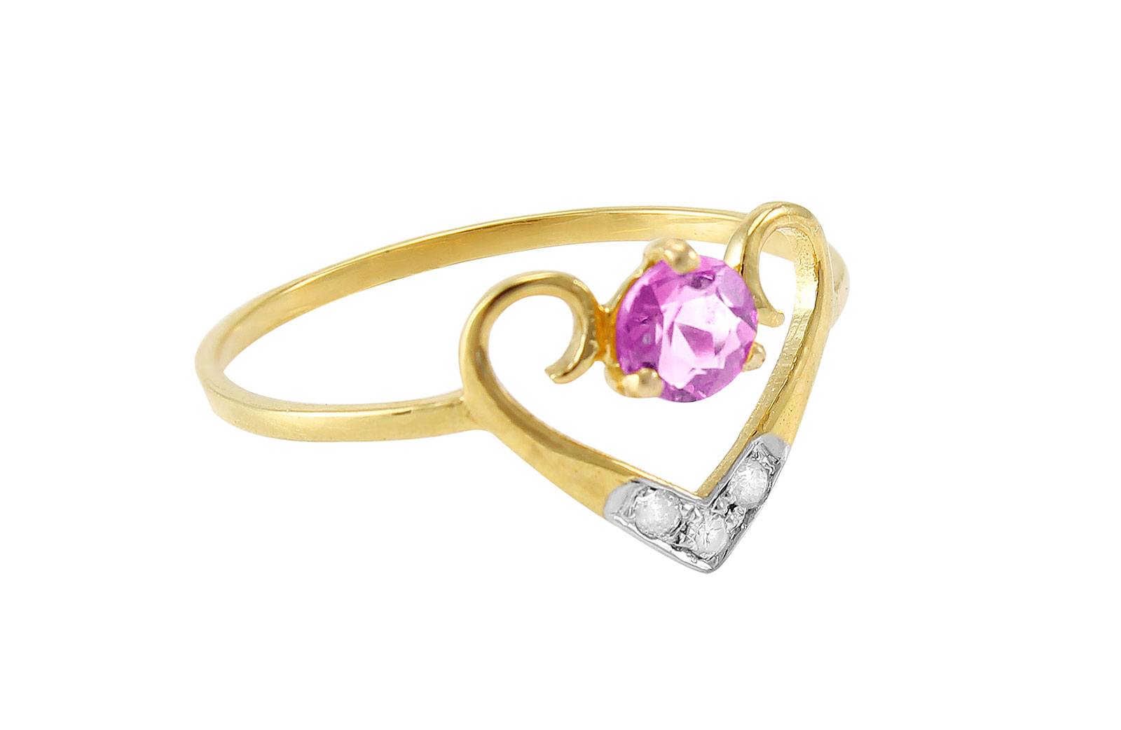 VP Jewels: 18K Solid Yellow Gold 0.03CT Genuine Diamonds  and 4mm Amethyst  Heart Ring -SIZE 6 US