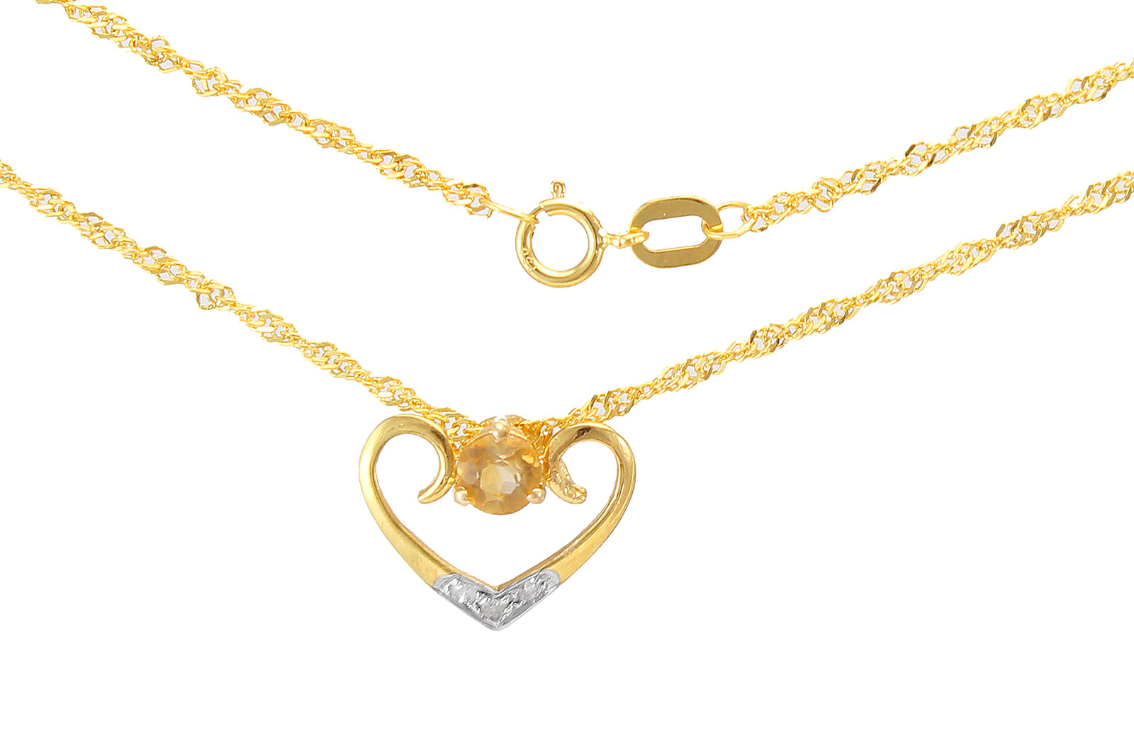 VP Jewels: 18K Solid Yellow Gold 0.03CT Genuine Diamonds  and 4mm Citrine   Heart Necklace