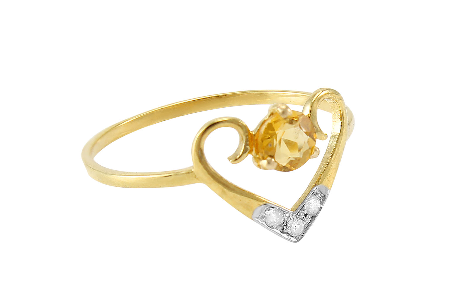 VP Jewels: 18K Solid Yellow Gold 0.03CT Genuine Diamonds  and 4mm Citrine  Heart Ring -SIZE 6 US