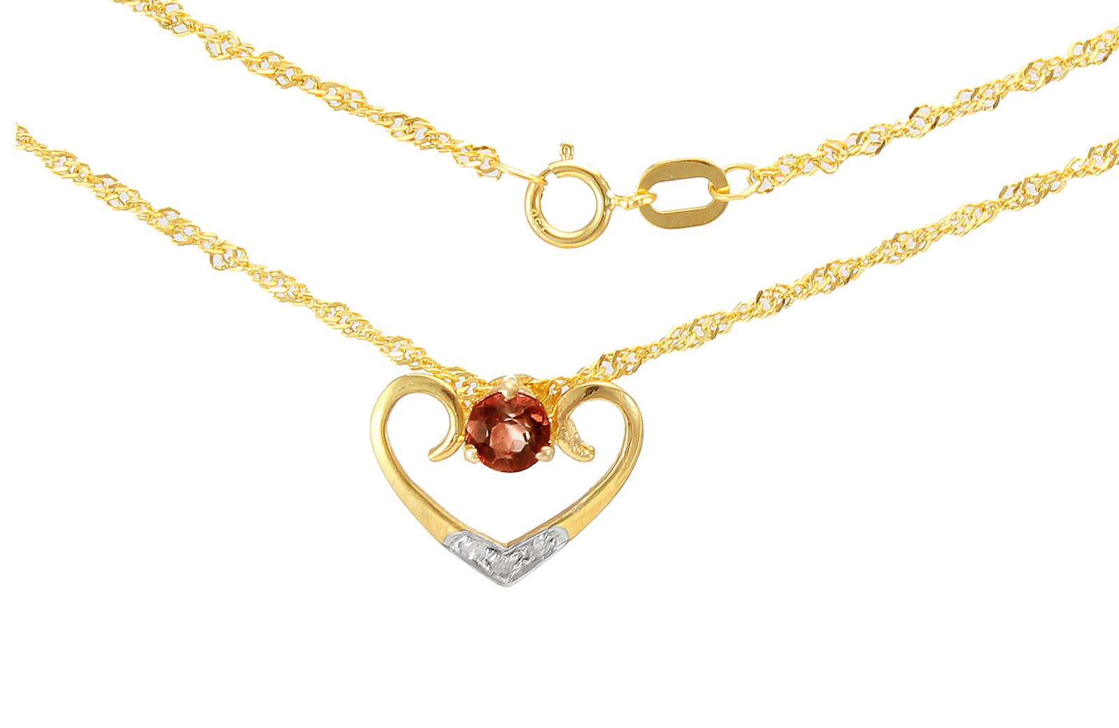 VP Jewels: 18K Solid Yellow Gold 0.03CT Genuine Diamonds  and 4mm Garnet   Heart Necklace