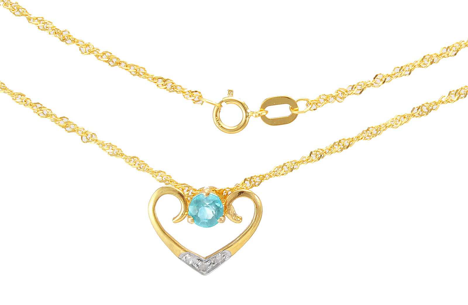 VP Jewels: 18K Solid Yellow Gold 0.03CT Genuine Diamonds  and 4mm Swiss Blue Topaz   Heart Necklace